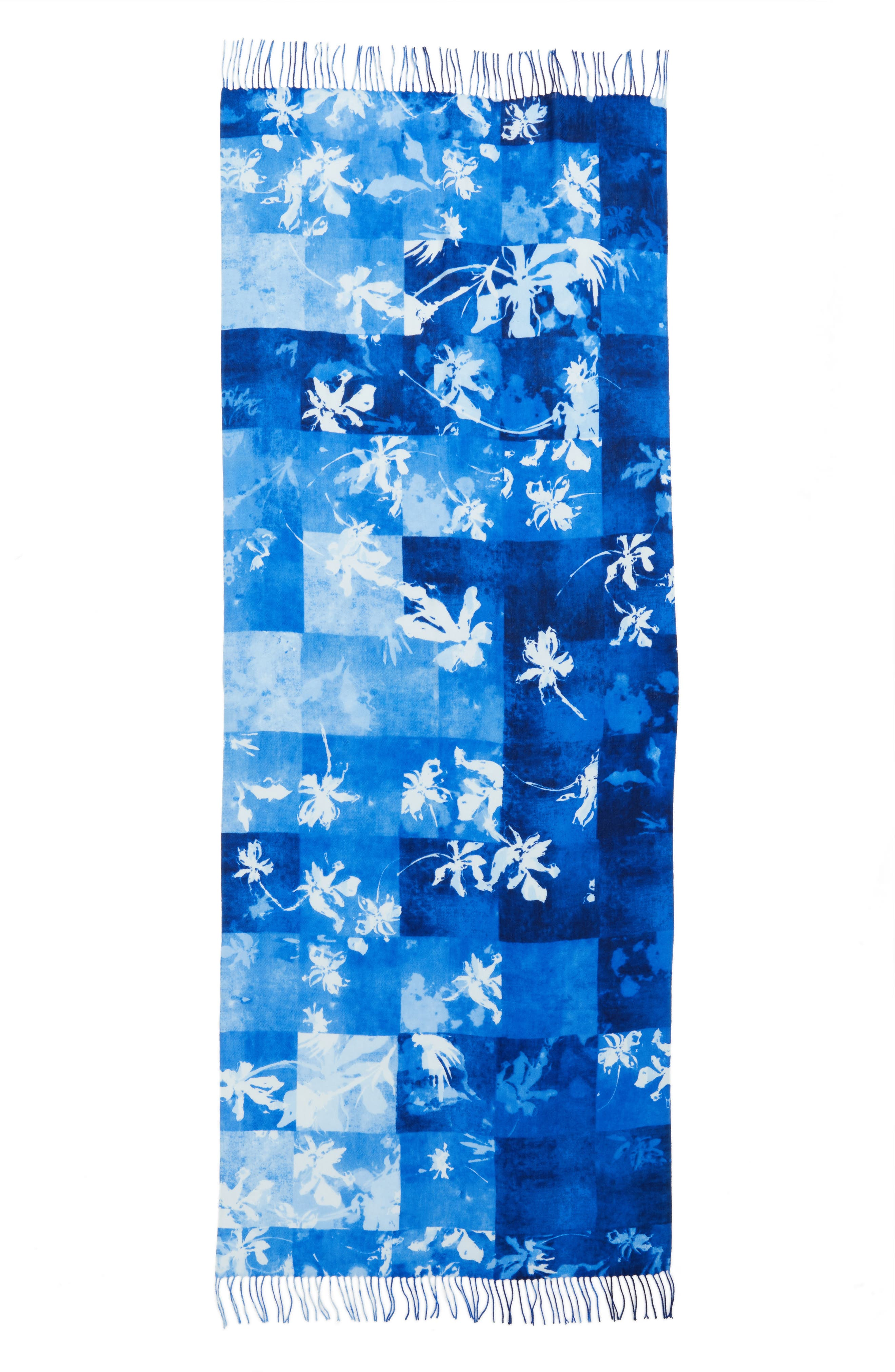 Solar Patchwork Tissue Wool & Cashmere Scarf,                             Alternate thumbnail 2, color,                             Blue Combo