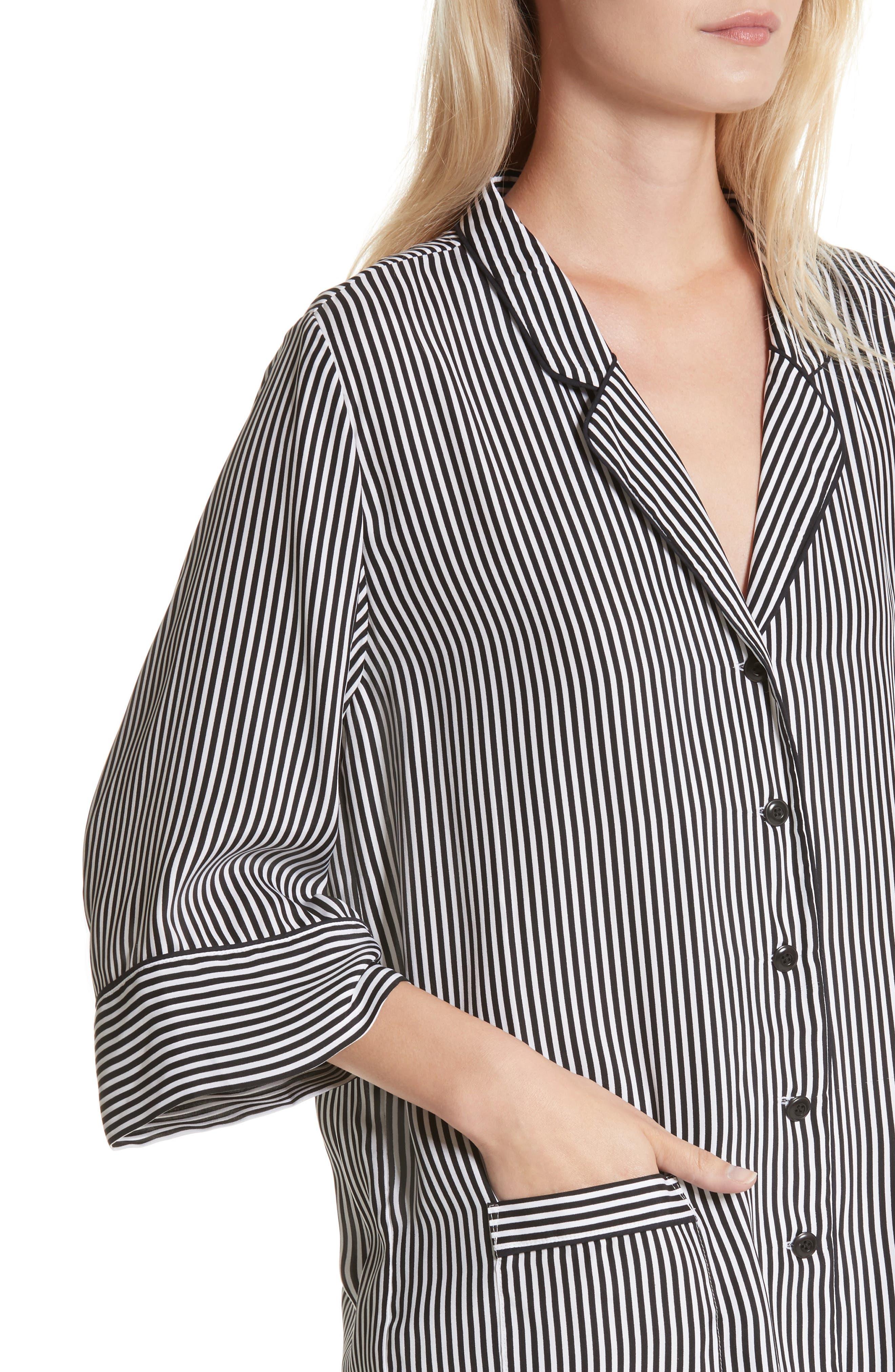 Alternate Image 5  - THE GREAT. Pencil Stripe Silk Sleeper Shirt