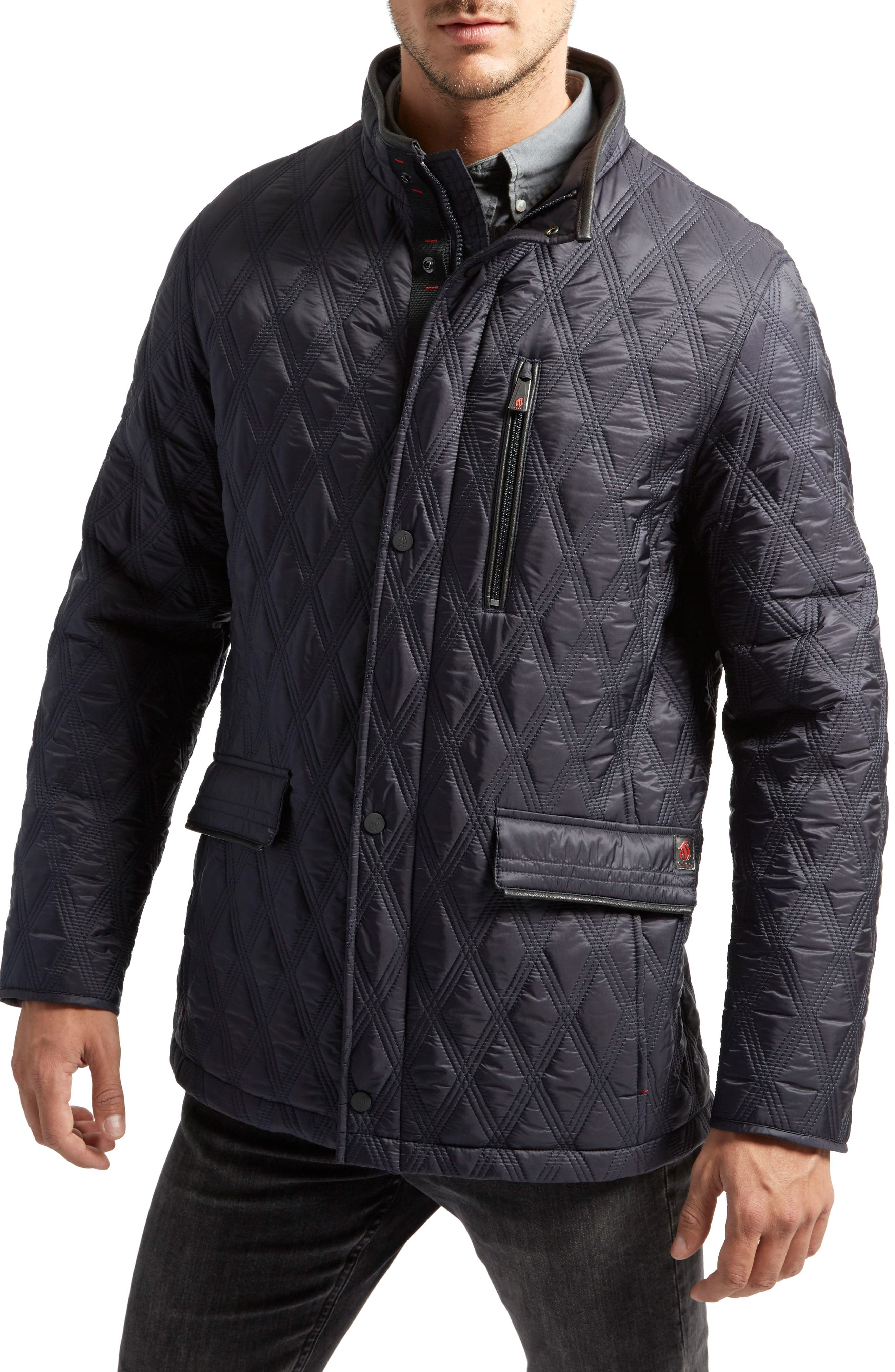 Prichard Triple Stitch Quilted Heat System Jacket,                             Main thumbnail 1, color,                             Midnight