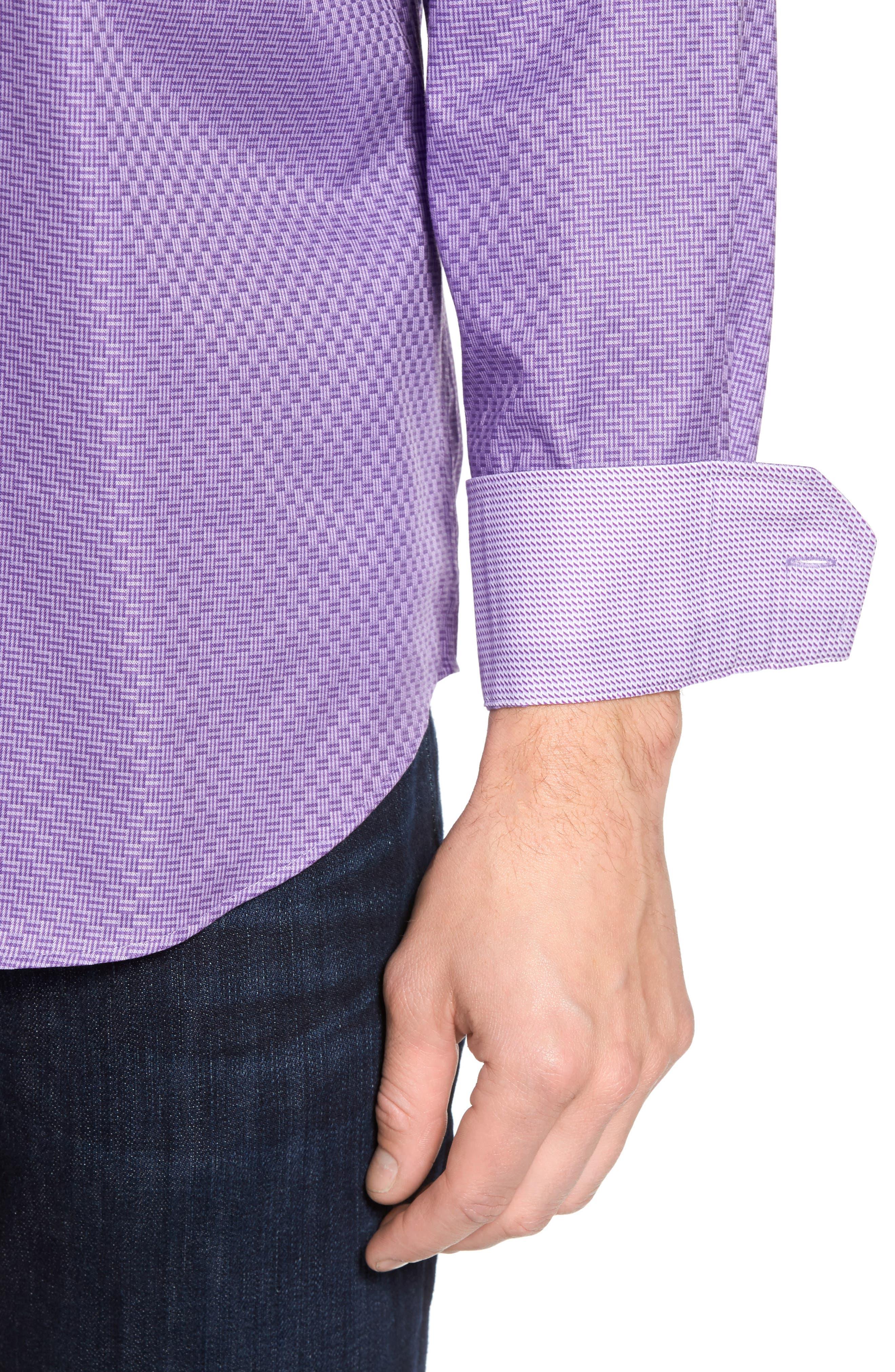 Classic Fit Print Sport Shirt,                             Alternate thumbnail 4, color,                             Orchid