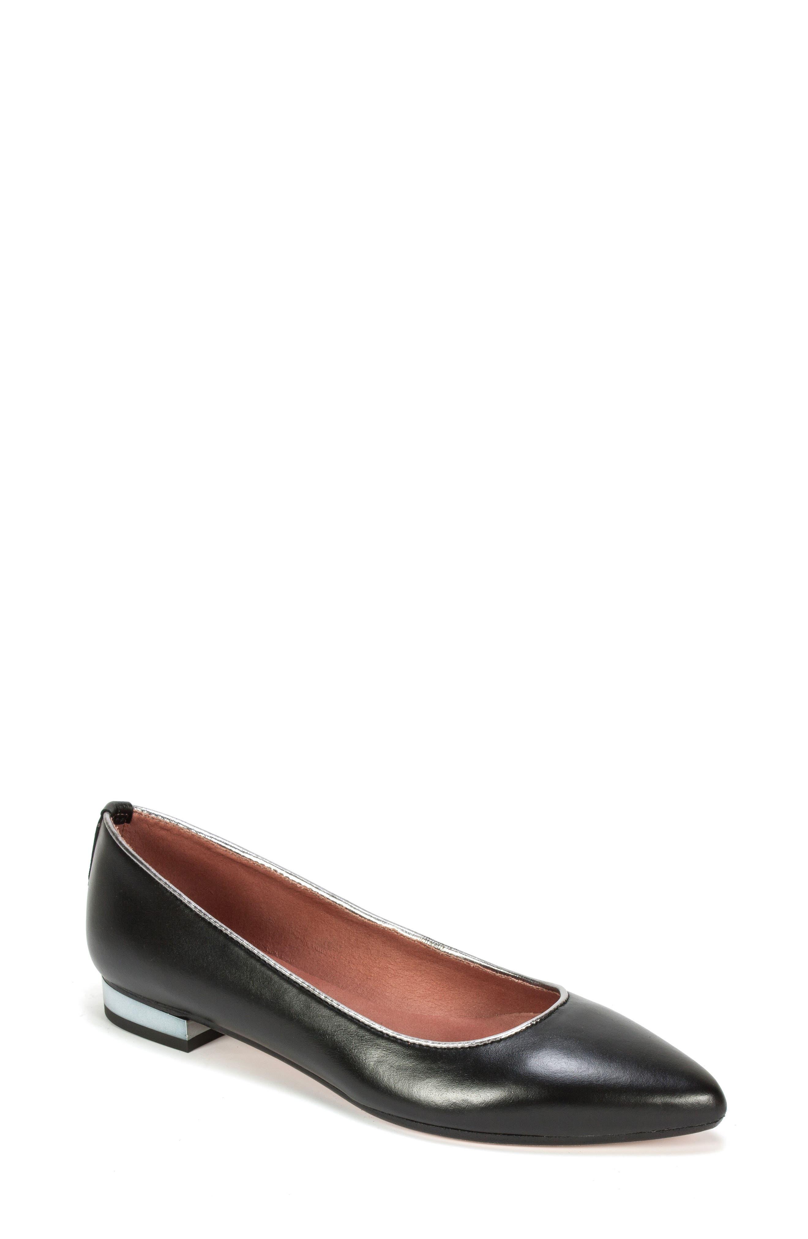 Karolina Flat,                             Main thumbnail 1, color,                             Black Leather