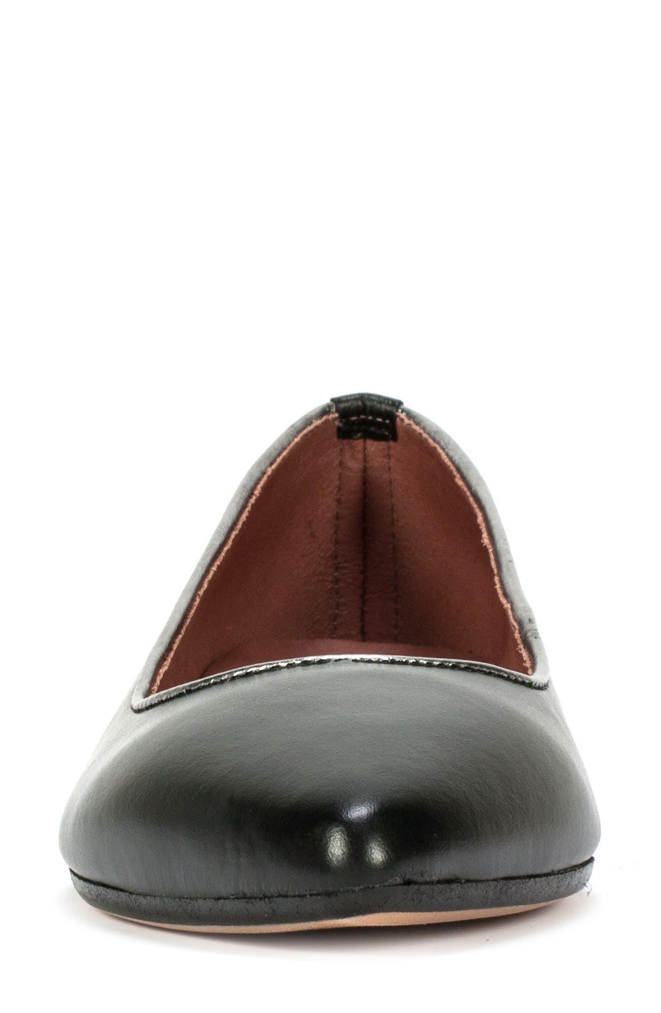 Karolina Flat,                             Alternate thumbnail 4, color,                             Black Leather