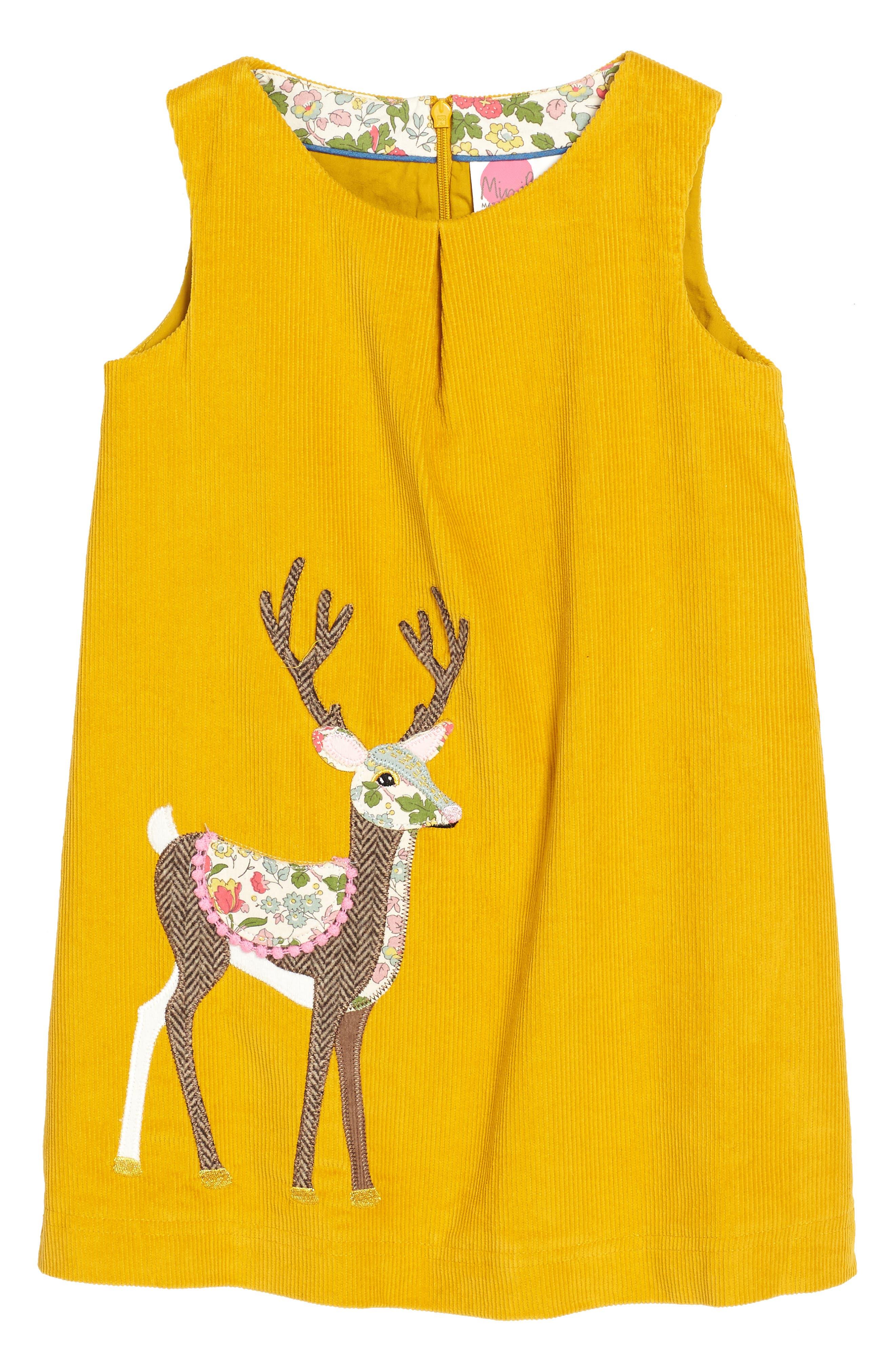 Animal Appliqué Dress,                         Main,                         color, Saffron Yellow Deer Yel