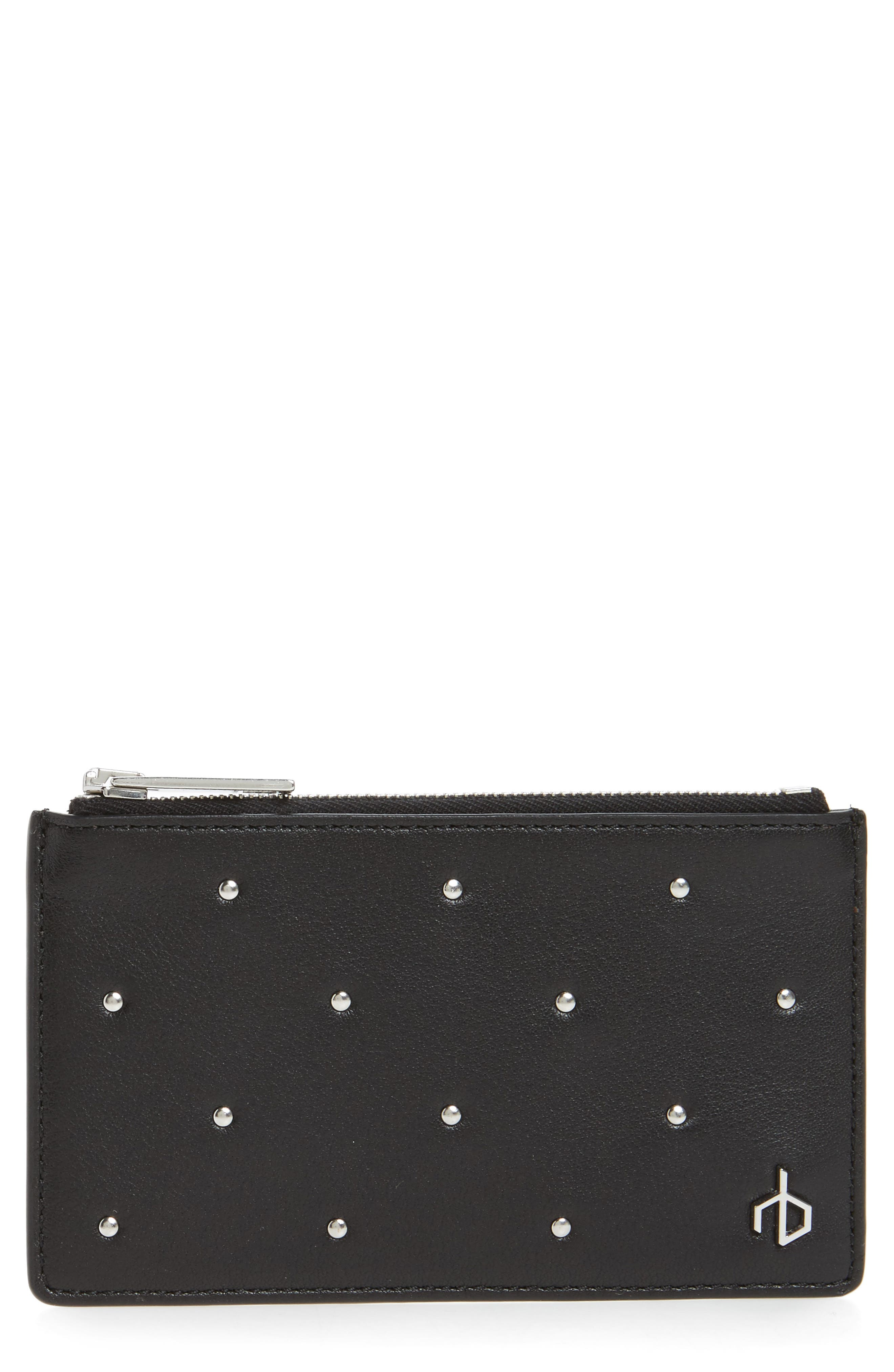 Studded Leather Card Case,                             Main thumbnail 1, color,                             Black Studs