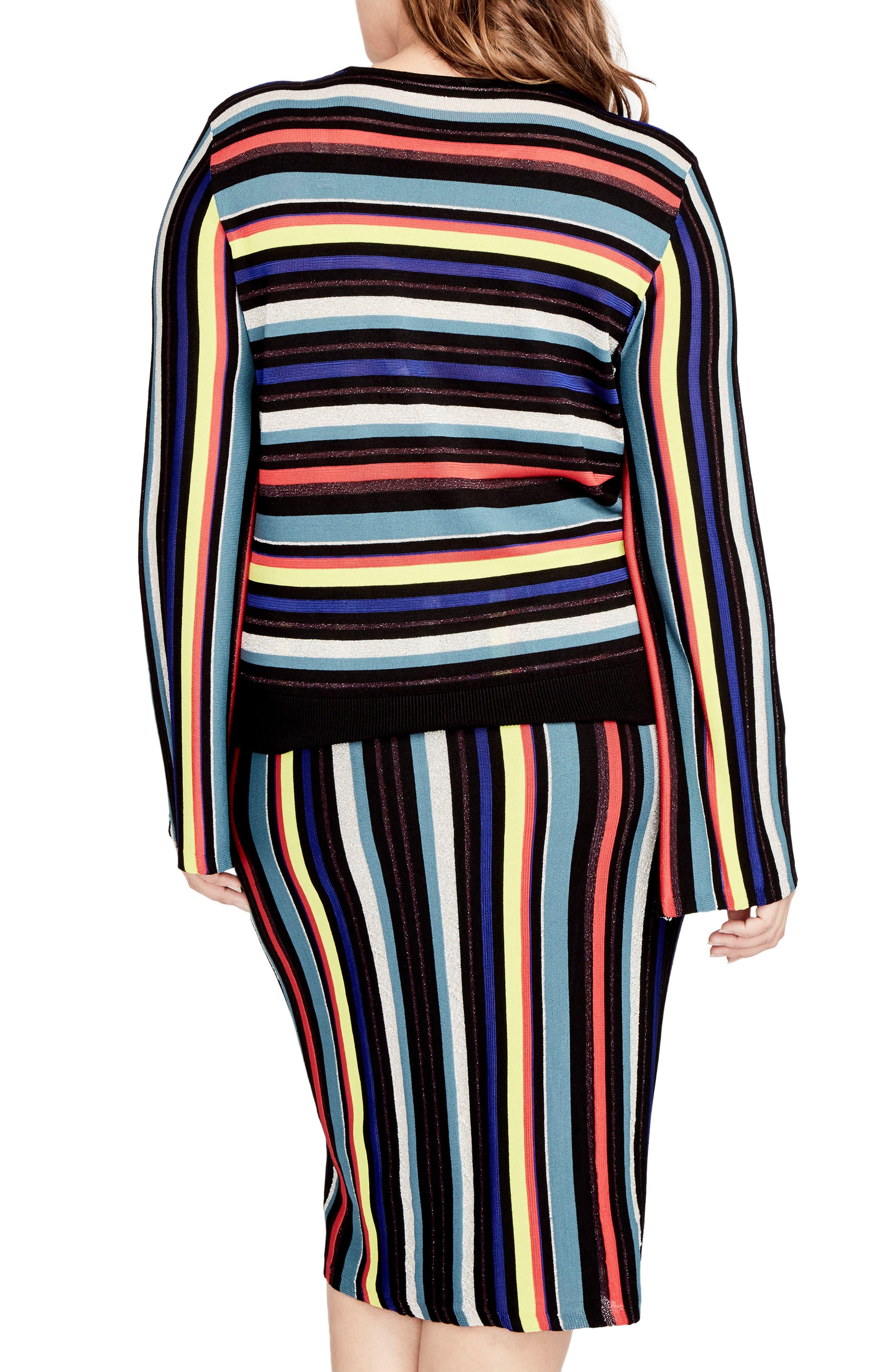 Alternate Image 2  - RACHEL Rachel Roy Multistripe Knit Skirt (Plus Size)