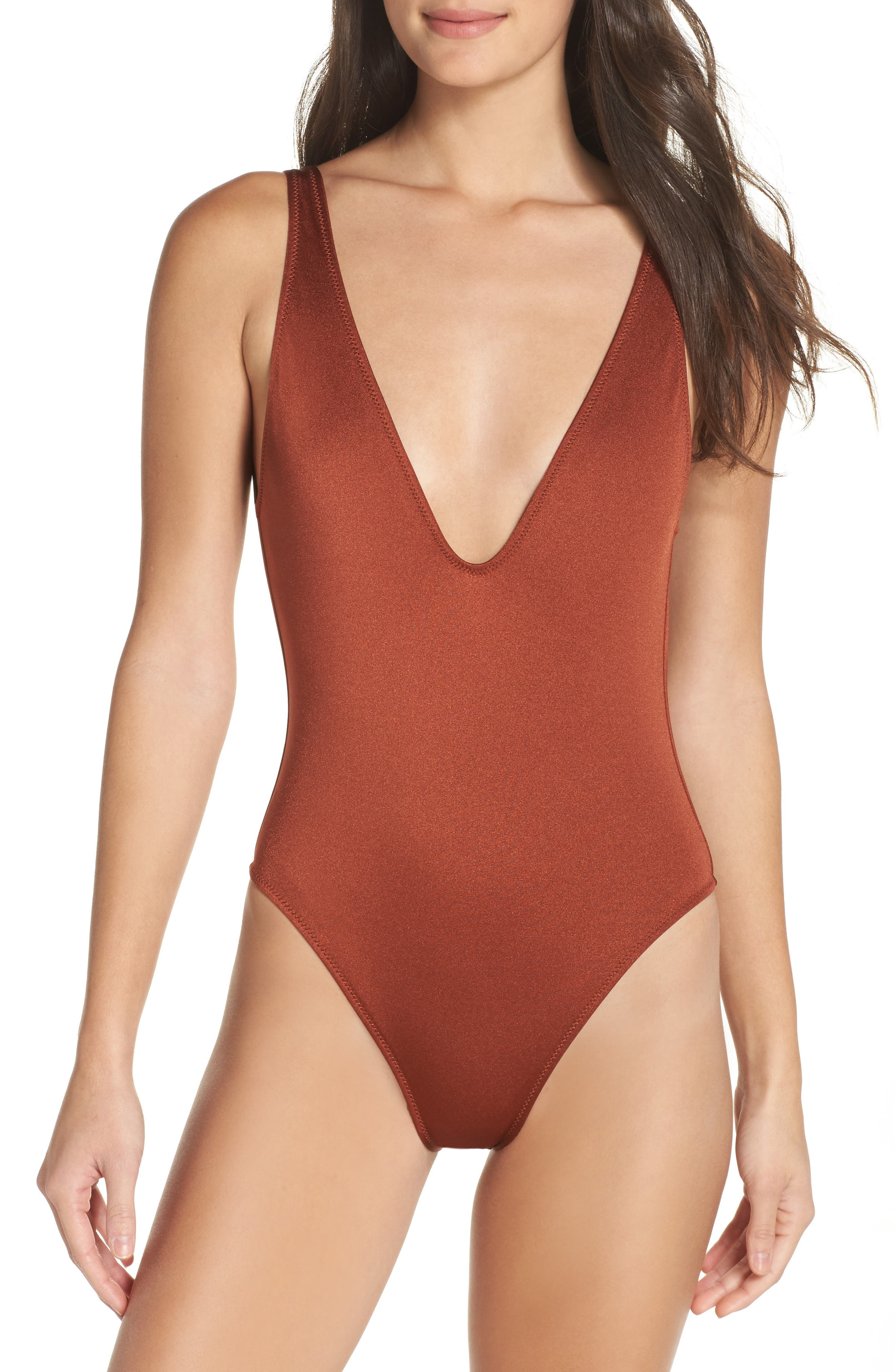 The Michele One-Piece Swimsuit,                             Main thumbnail 1, color,                             Shiny Cinnamon