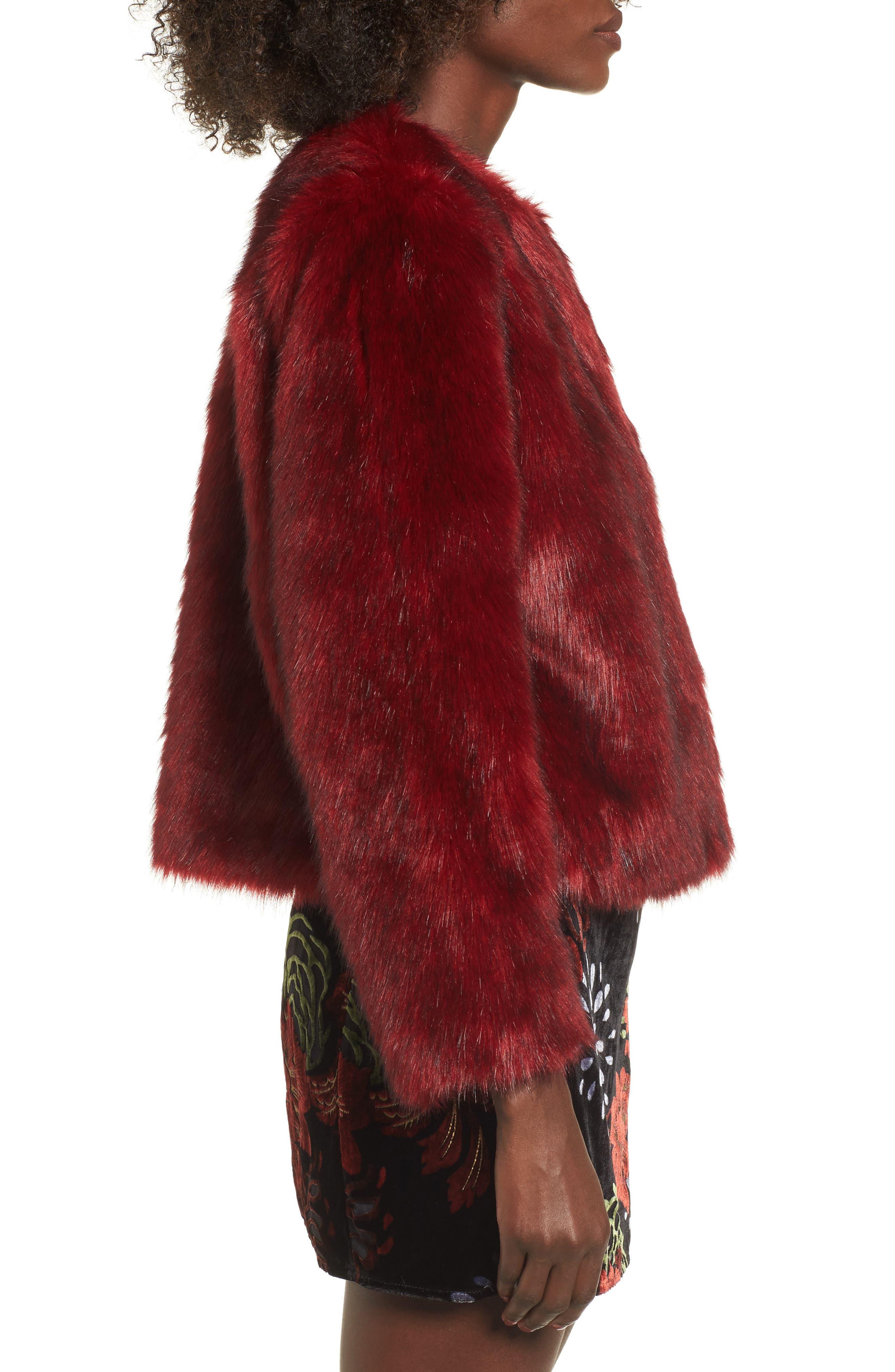 Faux Fur Jacket,                             Alternate thumbnail 3, color,                             Rouge Mink