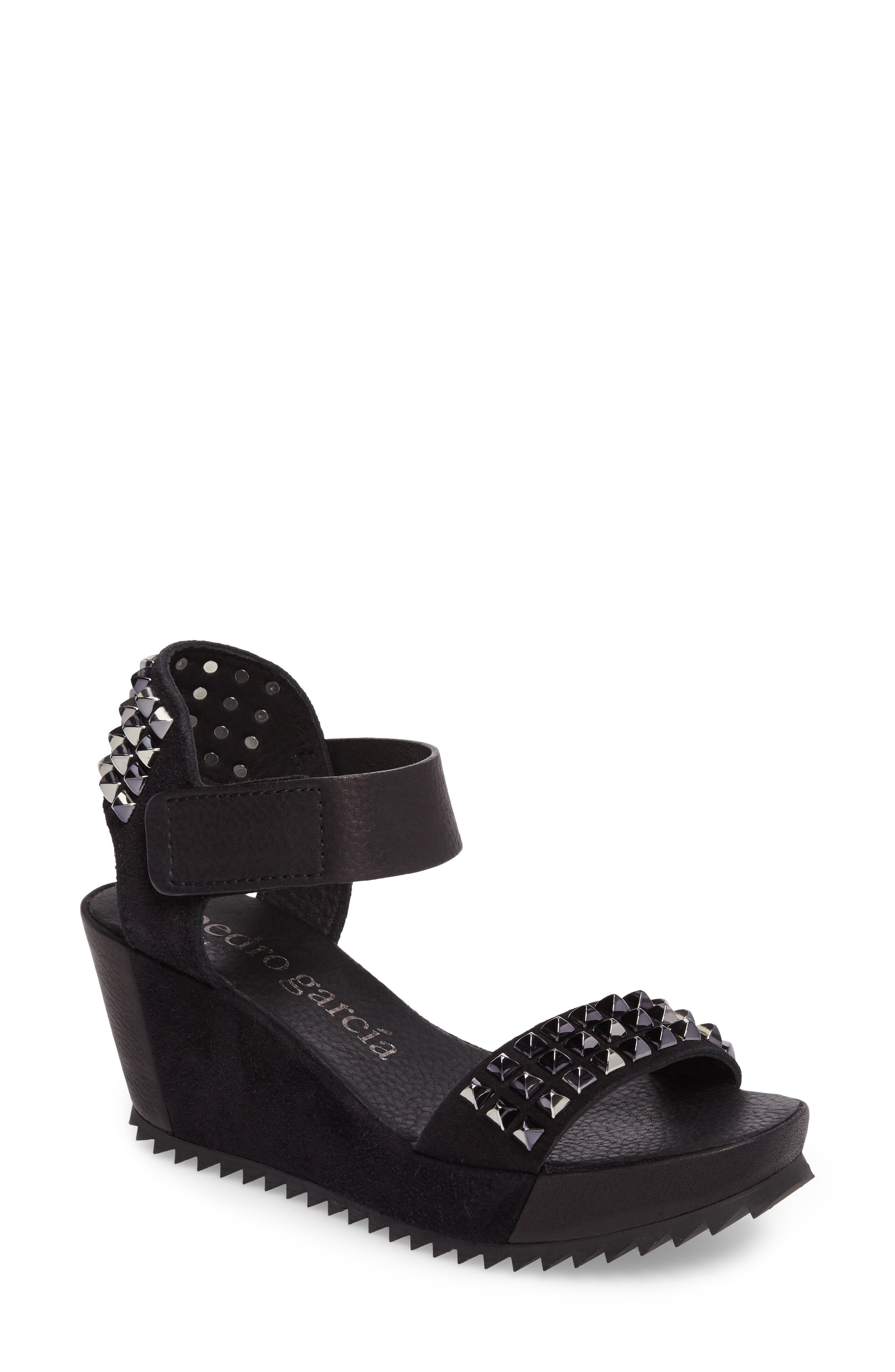 Fortuna Studded Wedge Sandal,                             Main thumbnail 1, color,                             Black Castoro/ Pewter