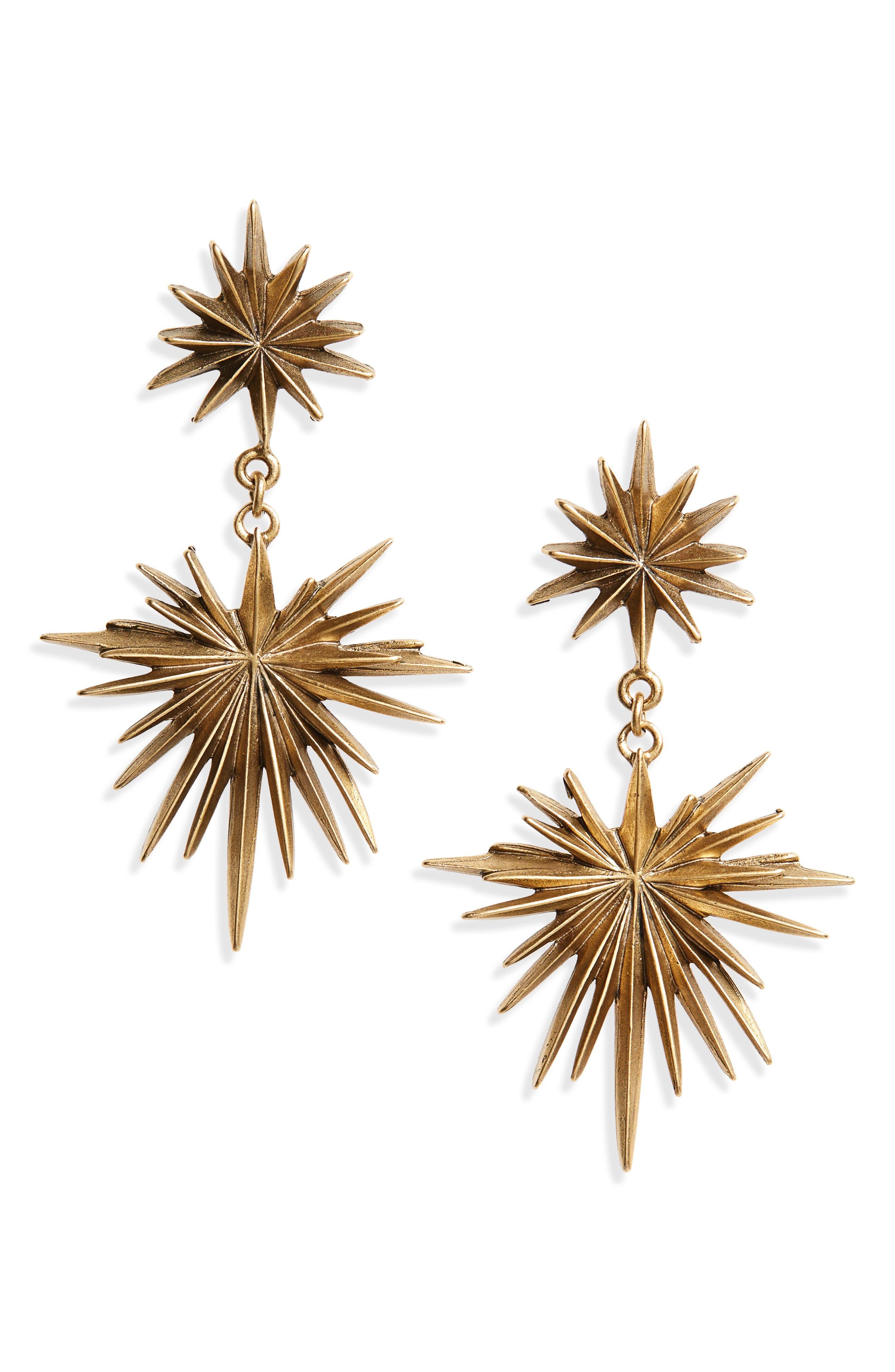 Starburst Drop Earrings,                         Main,                         color, Gold