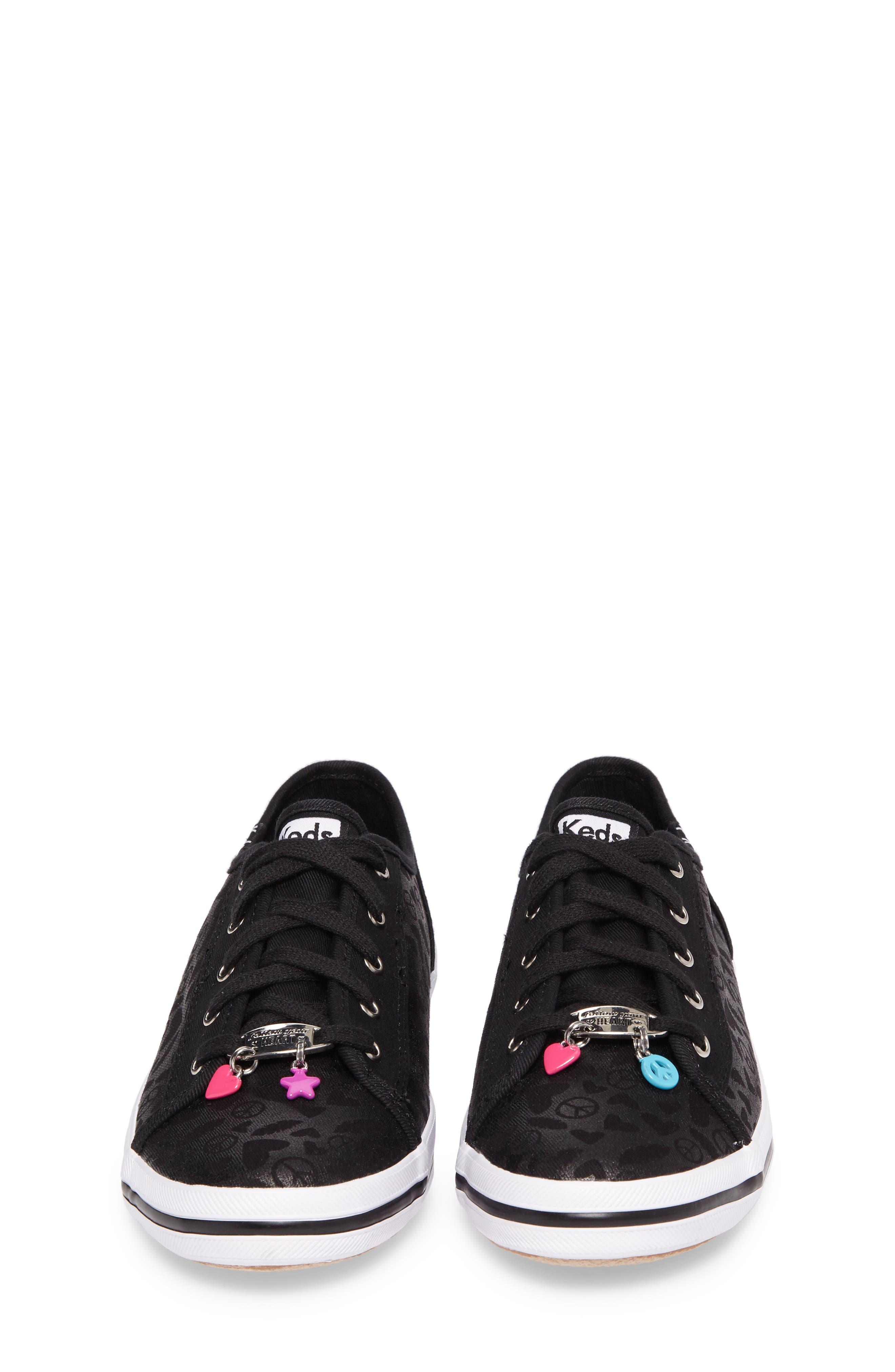 Kickstart Charm Sneaker,                             Alternate thumbnail 4, color,                             Black