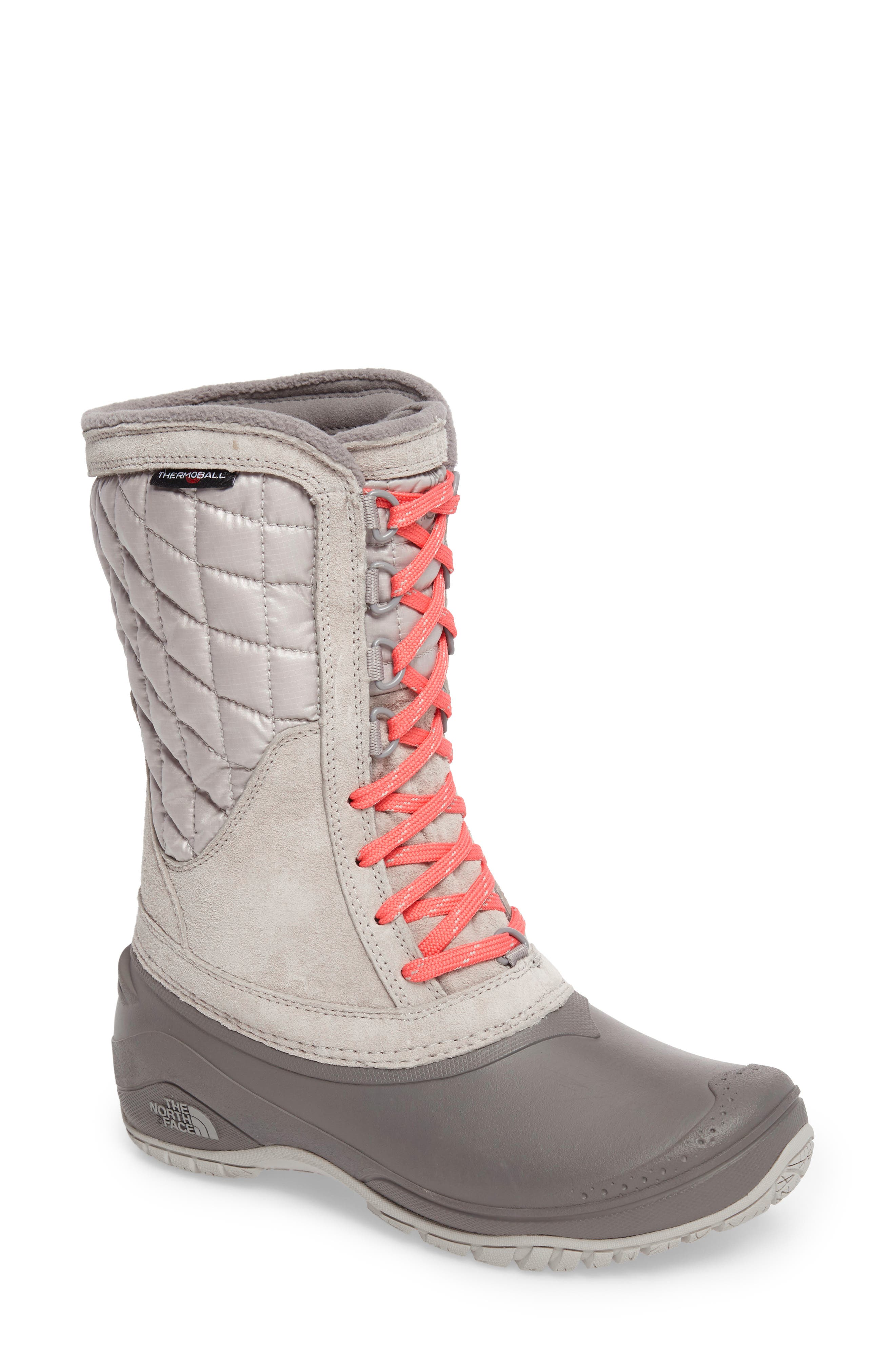 ThermoBall<sup>™</sup> Utility Waterproof Boot,                         Main,                         color, Dove Grey/ Calypso Coral