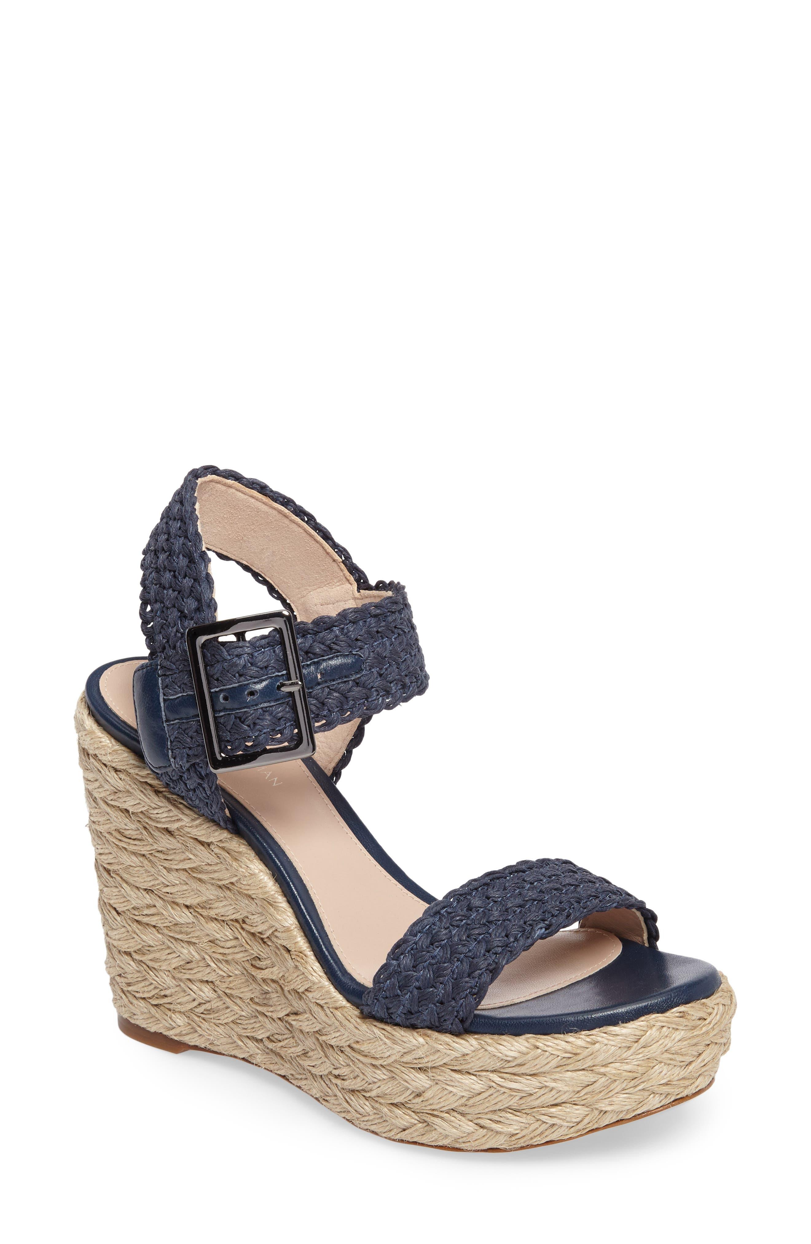 Alexis Espadrille Platform Wedge,                         Main,                         color, Nice Blue Crochet