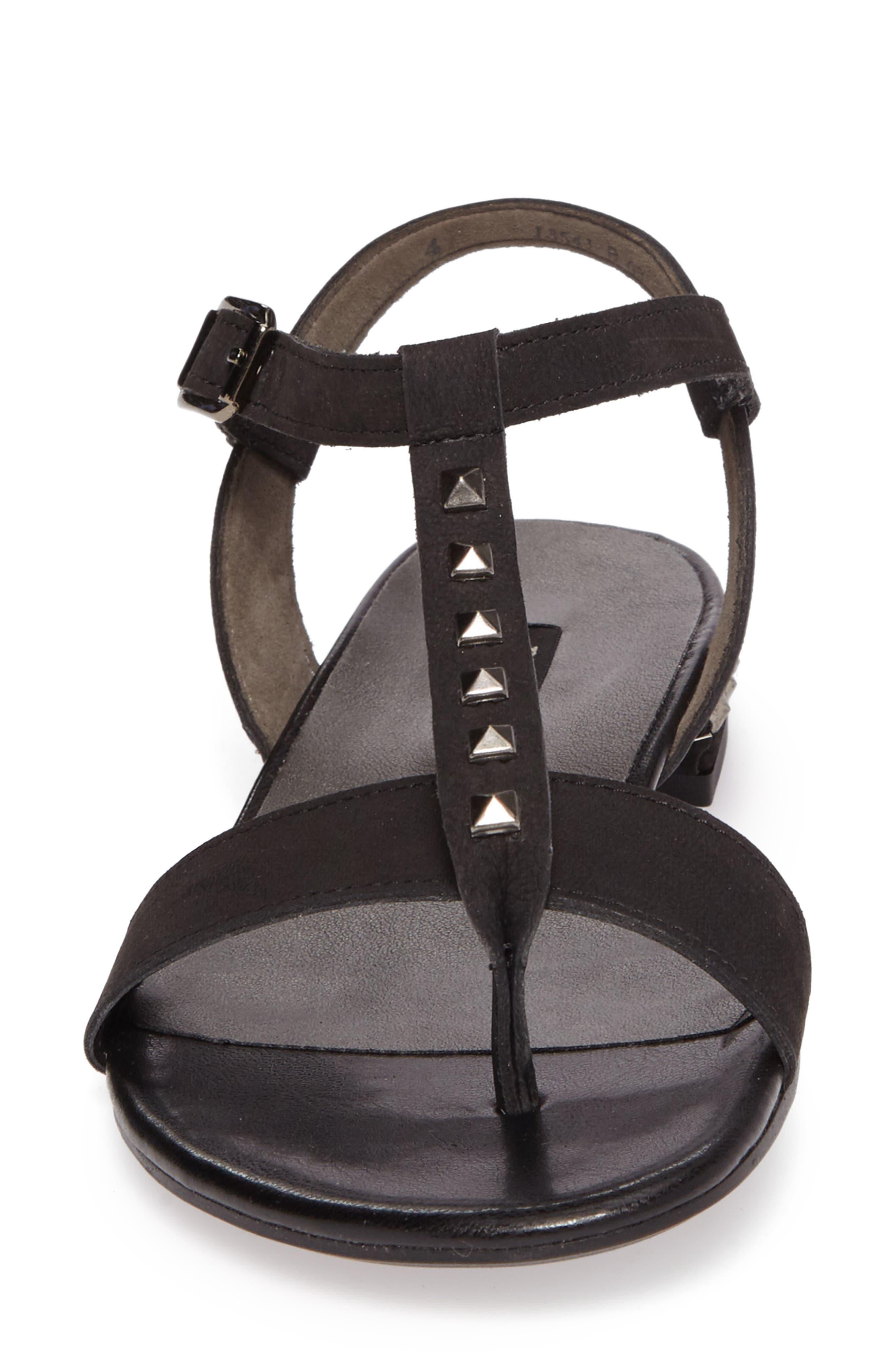 Nepal T-Strap Sandal,                             Alternate thumbnail 4, color,                             Black Nubuck