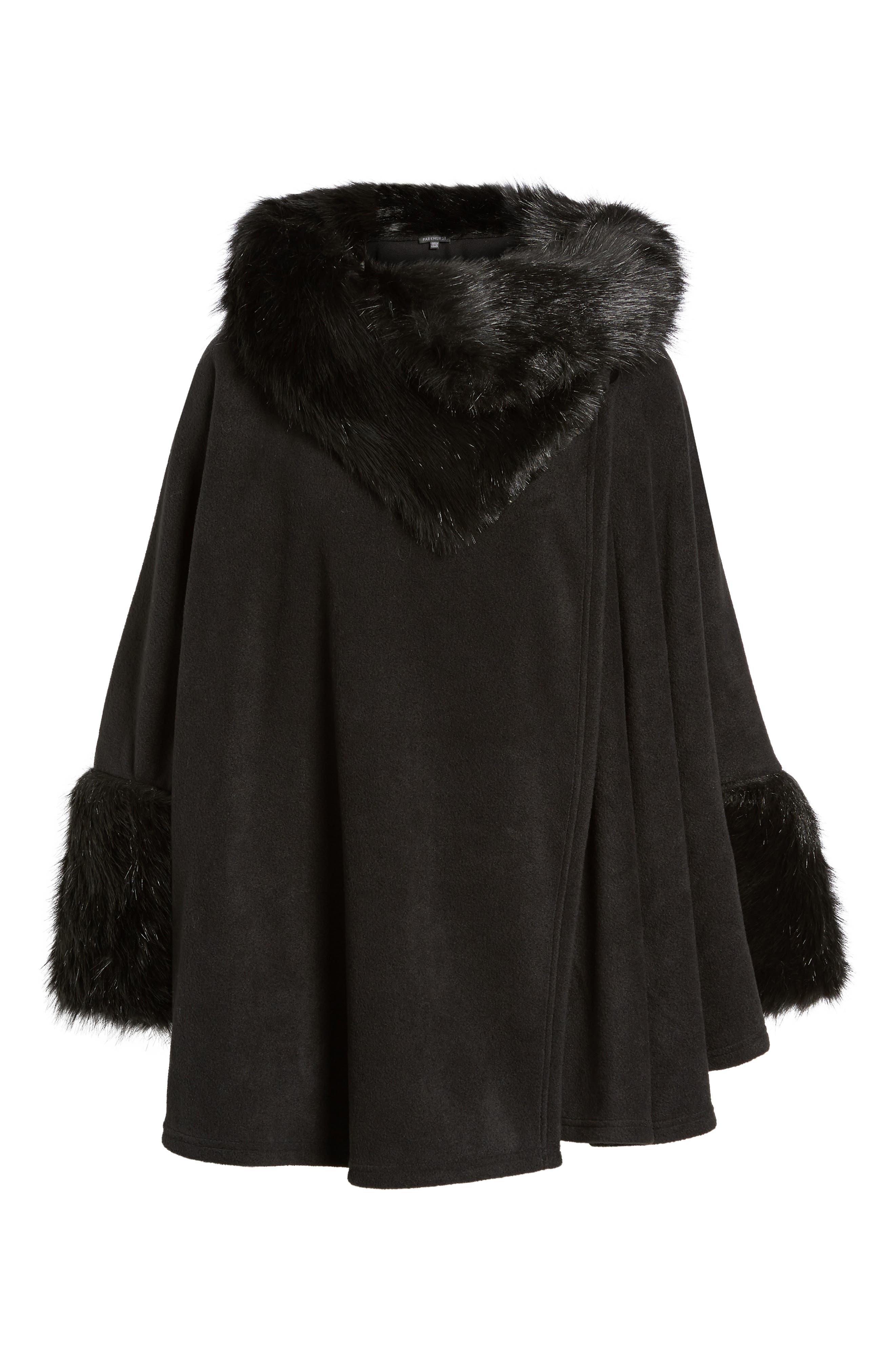 Chelsea Cape with Faux Fur Trim,                             Alternate thumbnail 6, color,                             Black/ Black Mink