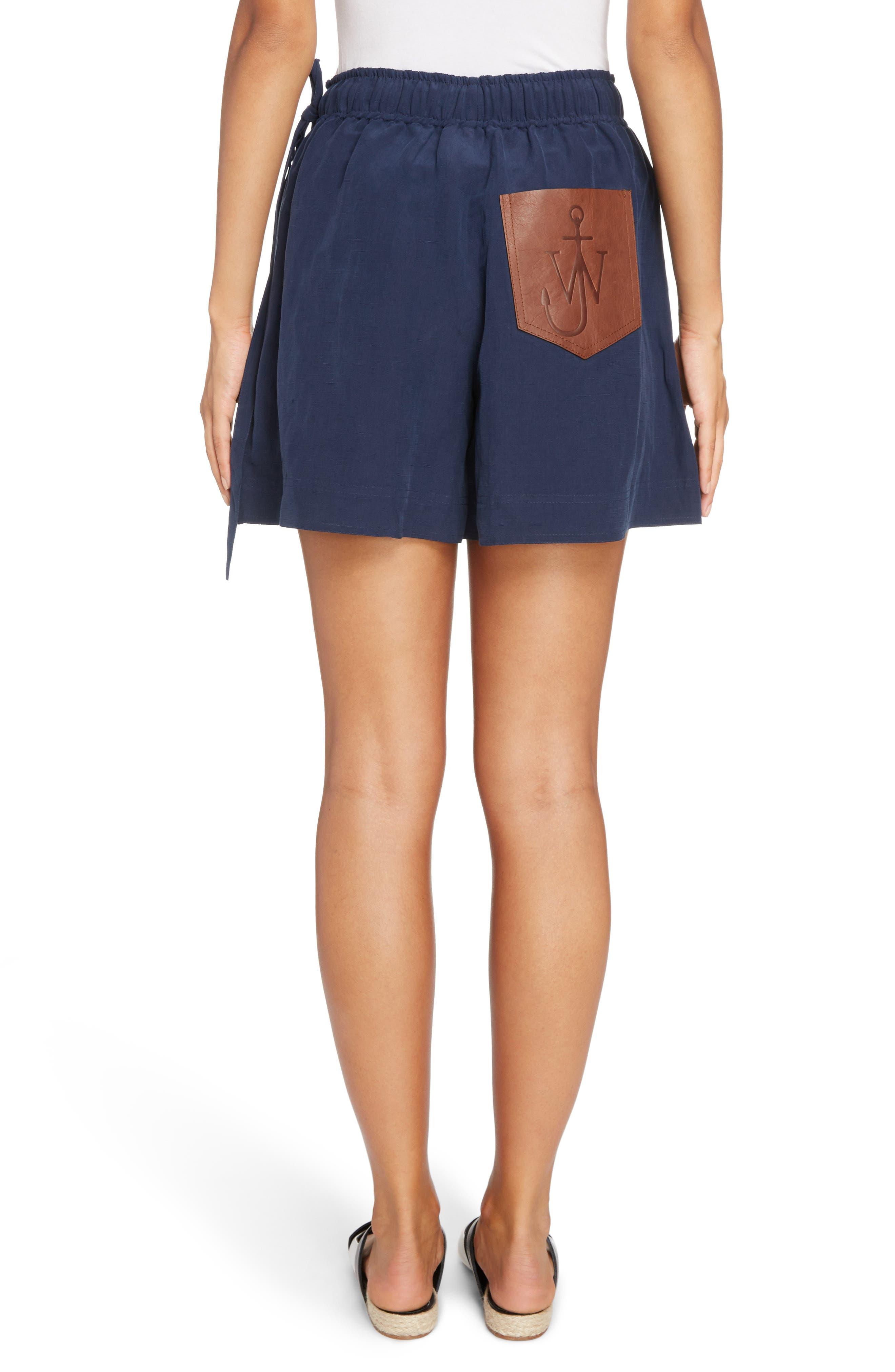 Leather Pocket Linen & Silk Boxer Shorts,                             Alternate thumbnail 5, color,                             Navy