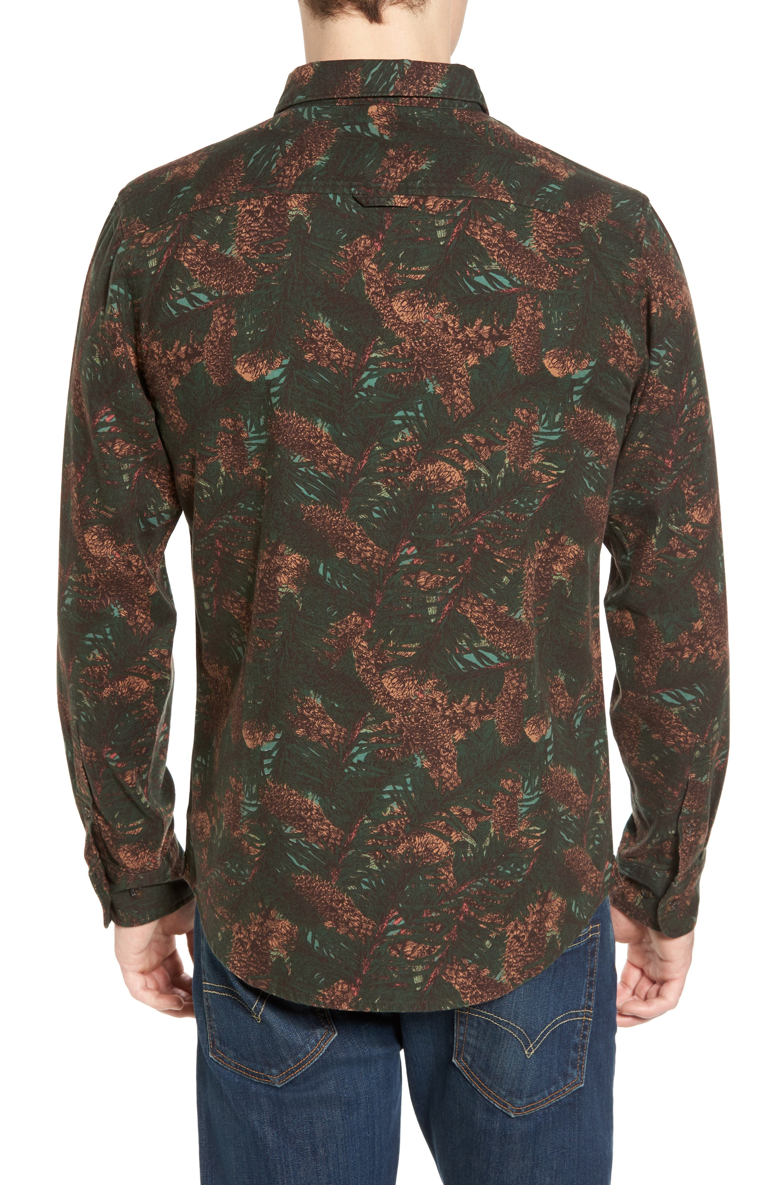 Print Flannel Shirt,                             Alternate thumbnail 2, color,                             Green Pinecone Print