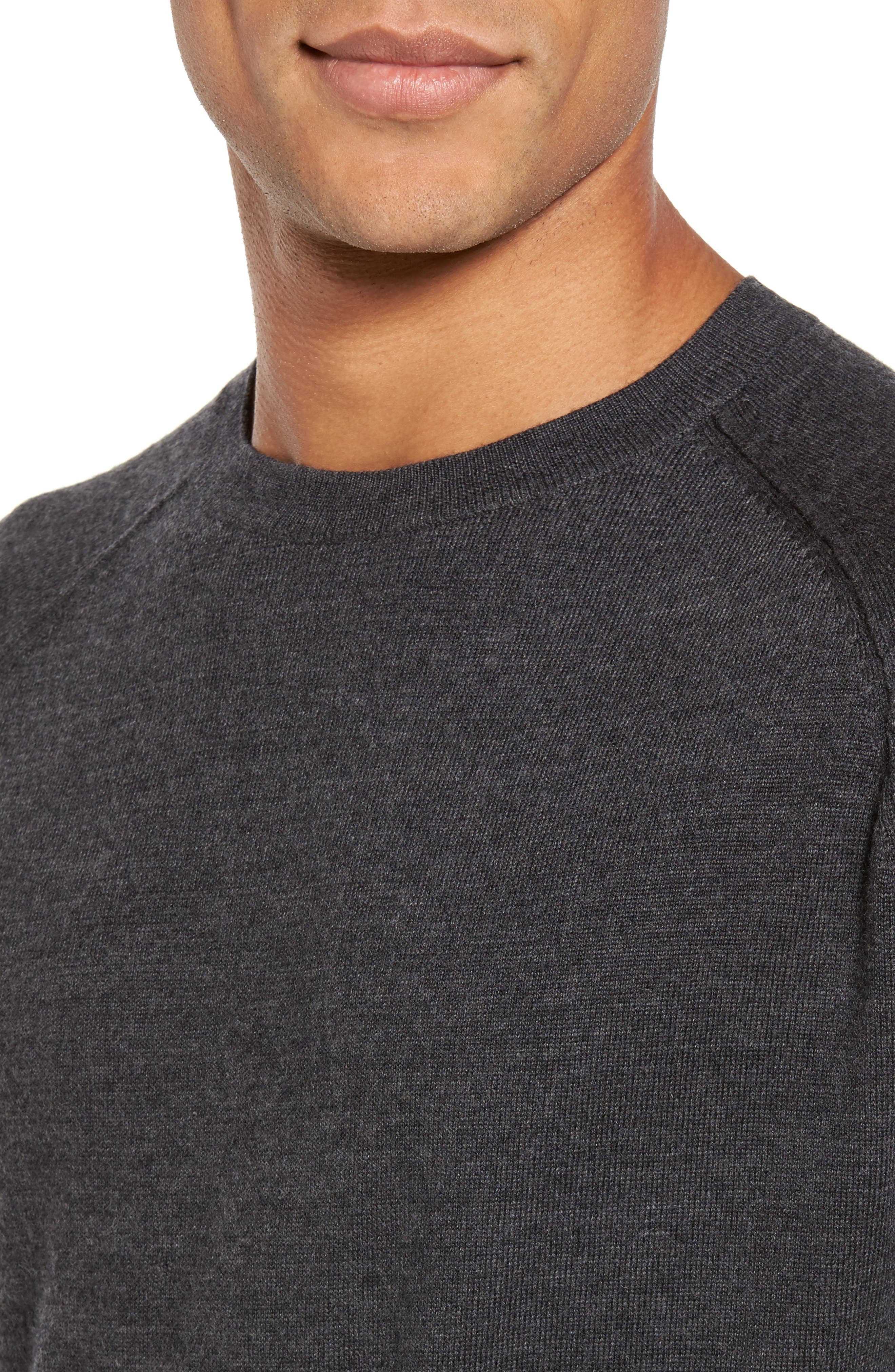 Superlight Slim Modern Wool Sweater,                             Alternate thumbnail 4, color,                             Charcoal