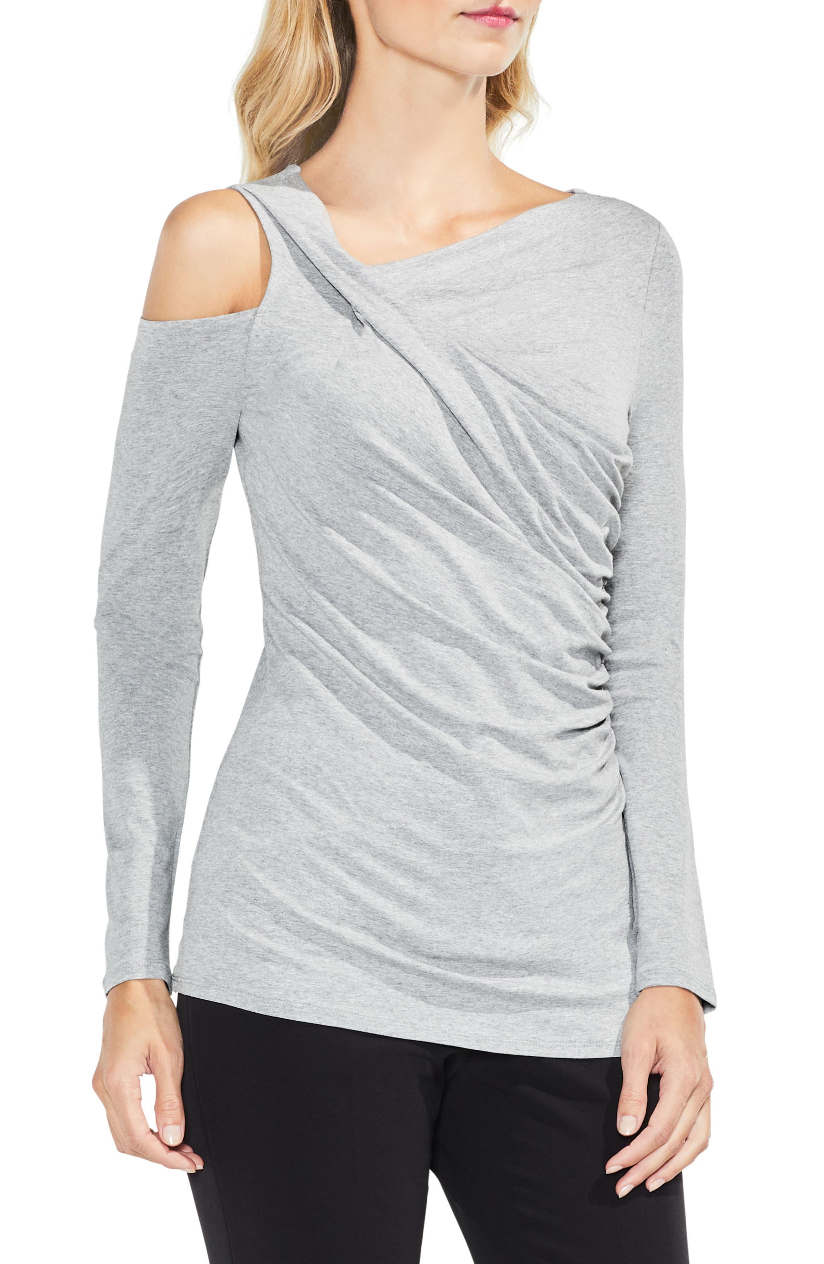 Asymmetrical Cold Shoulder Twist Front Top,                         Main,                         color, Light Heather Grey