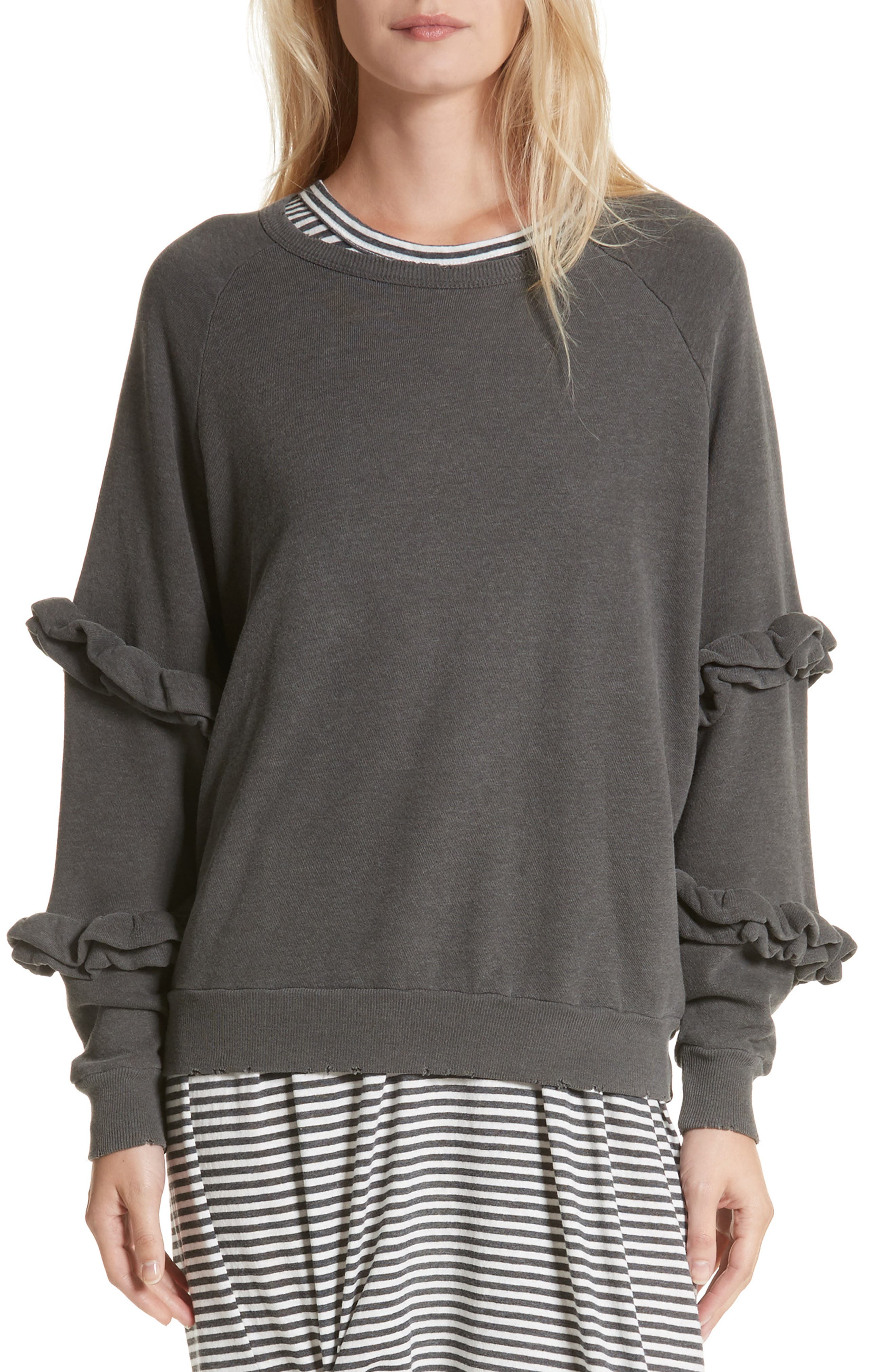 The Frill Sleeve Sweatshirt,                         Main,                         color, Washed Black