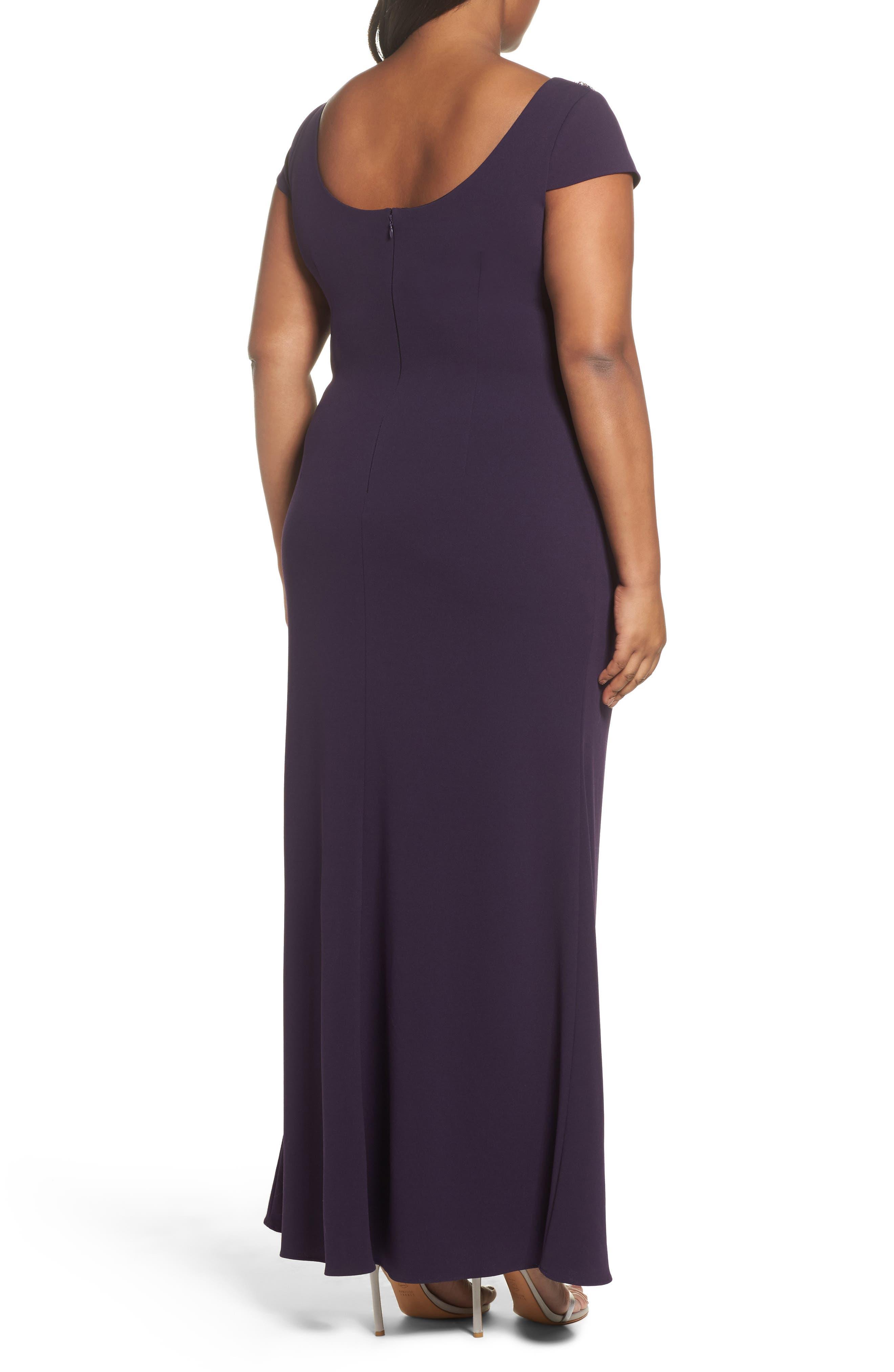 Long Beaded Shoulder Dress,                             Alternate thumbnail 2, color,                             Aubergine