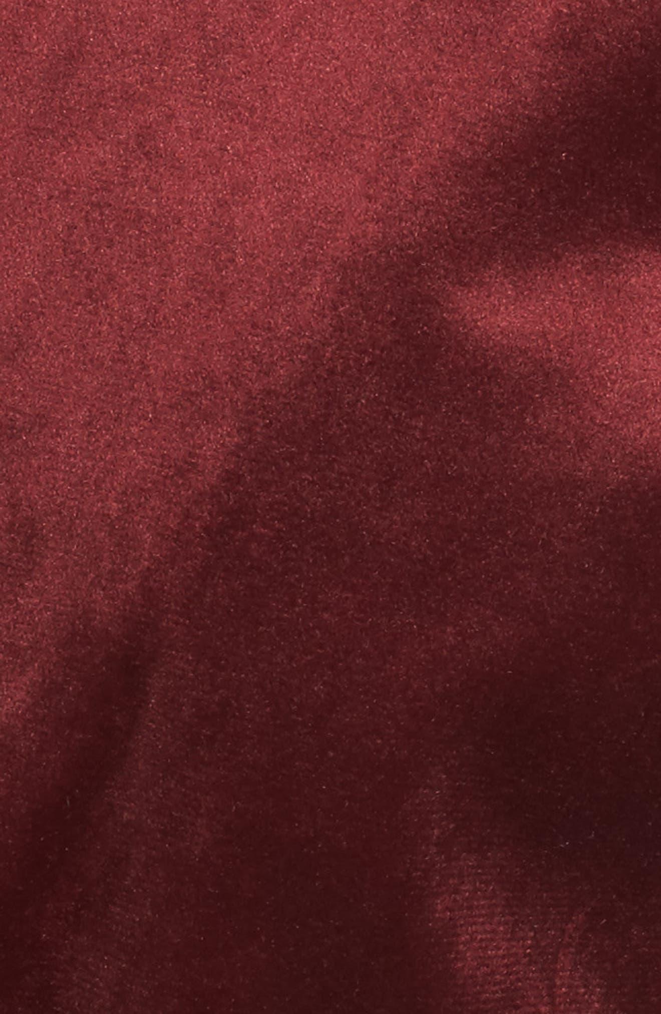 Lace Hem Velvet Wrap Top,                             Alternate thumbnail 5, color,                             Wine