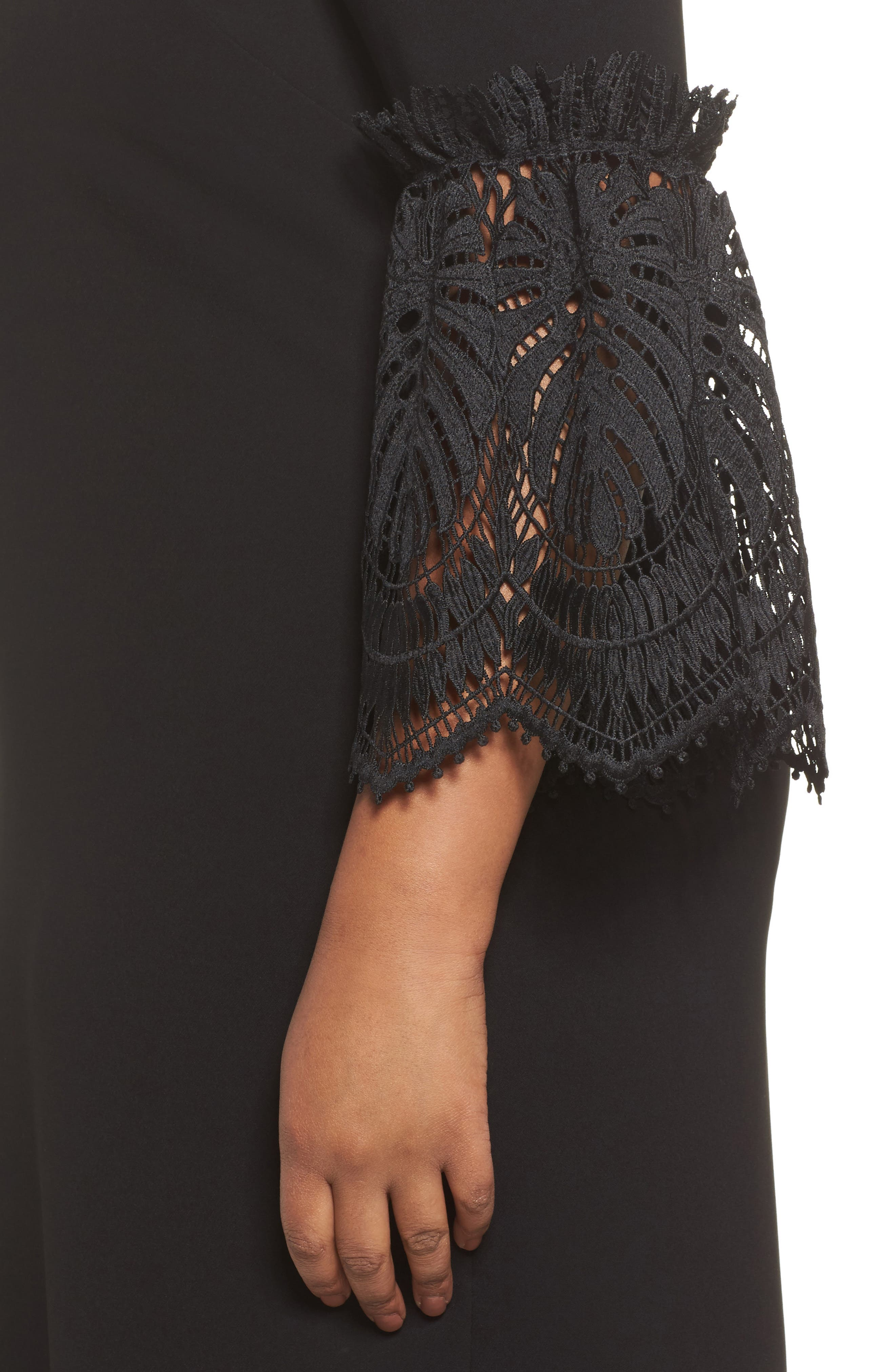 Lace Bell Sleeve Shift Dress,                             Alternate thumbnail 4, color,                             Black