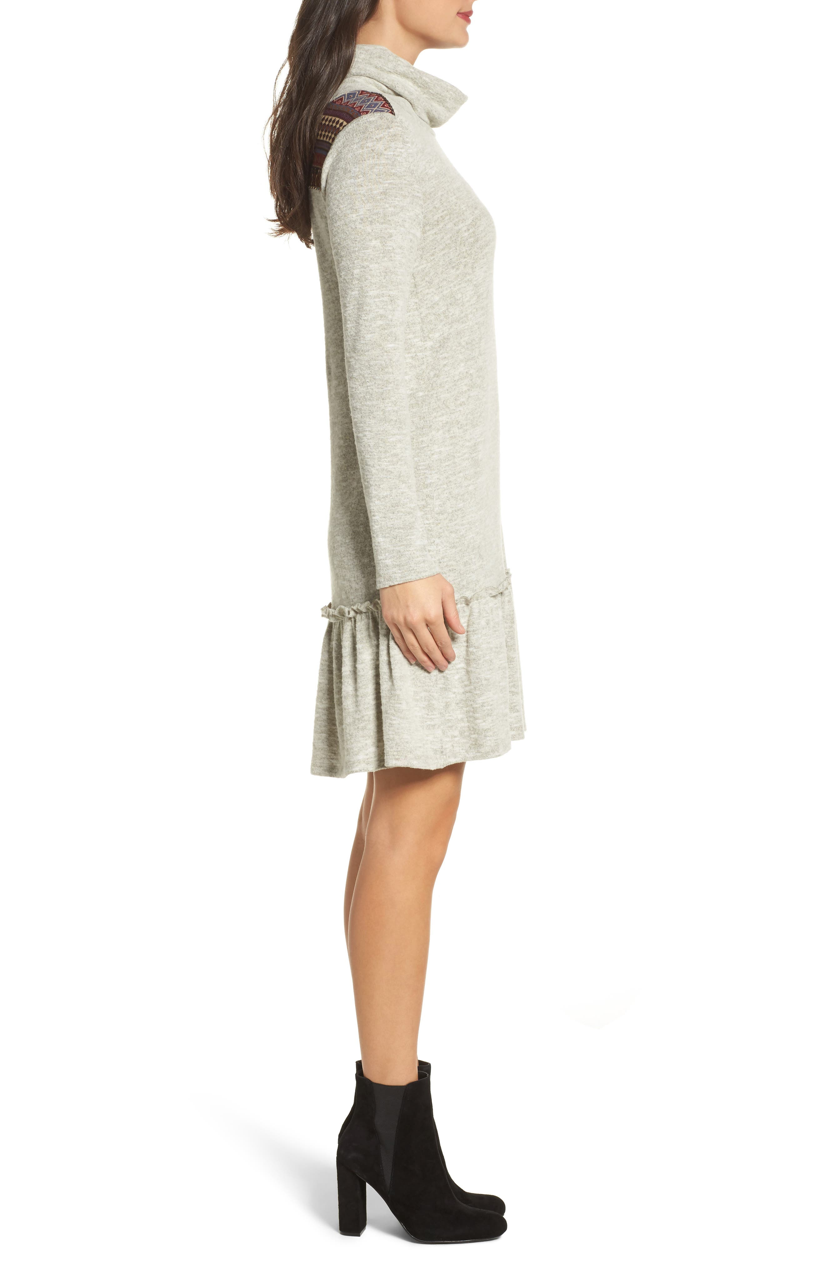 Drop Waist Sweater Dress,                             Alternate thumbnail 3, color,                             Heather Grey