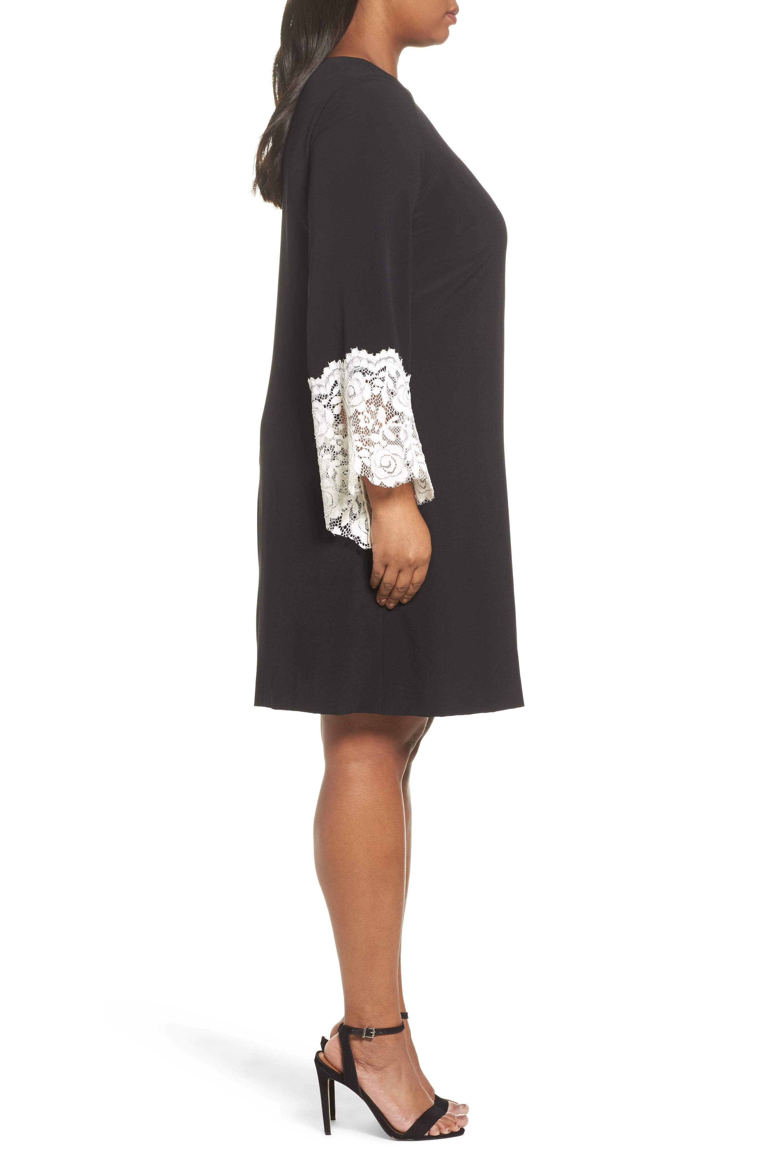 Lace Cuff Shift Dress,                             Alternate thumbnail 3, color,                             Black/ Ivory