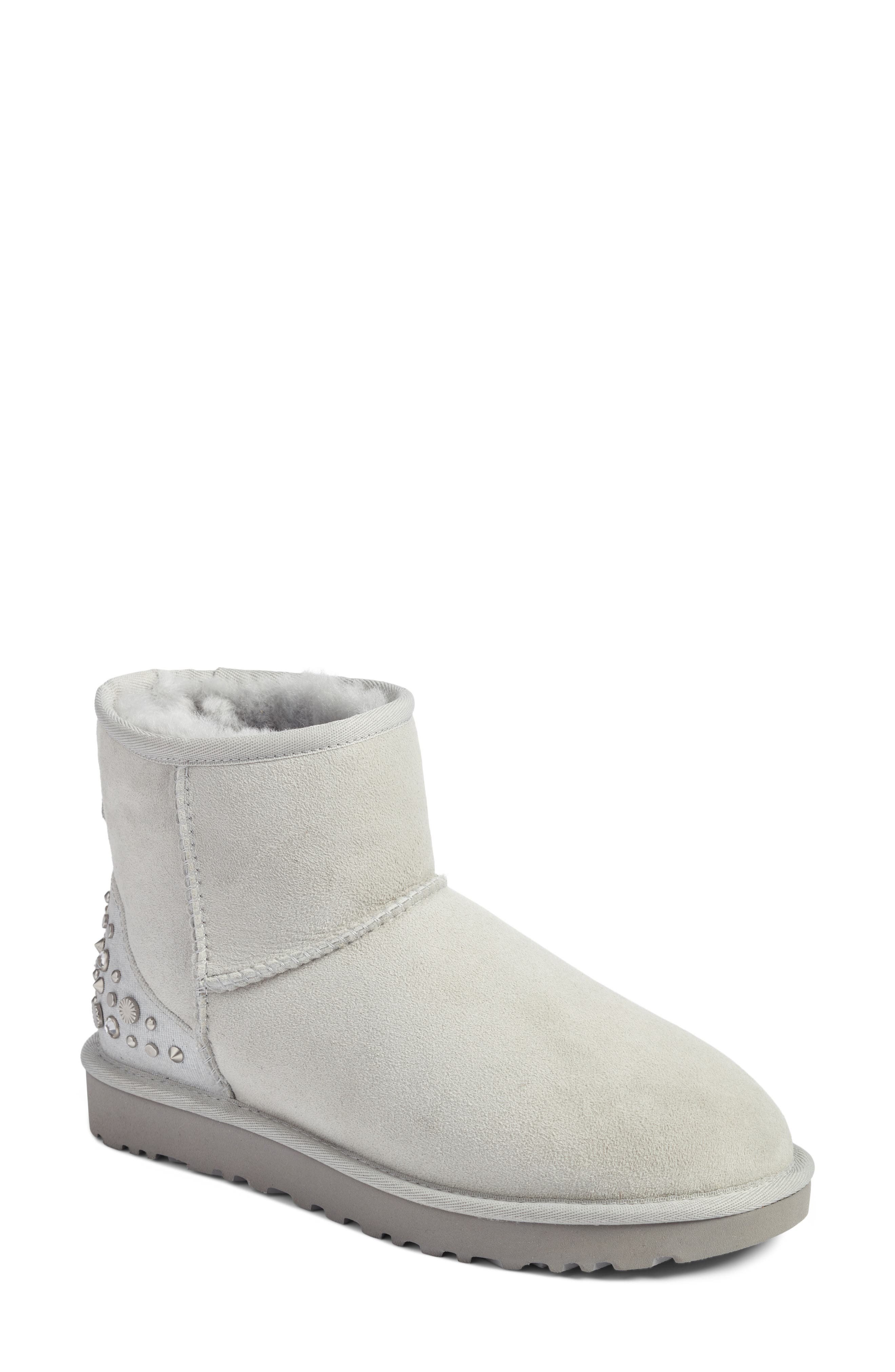 Studded Mini Genuine Shearling Lined Boot,                             Main thumbnail 1, color,                             Grey Violet