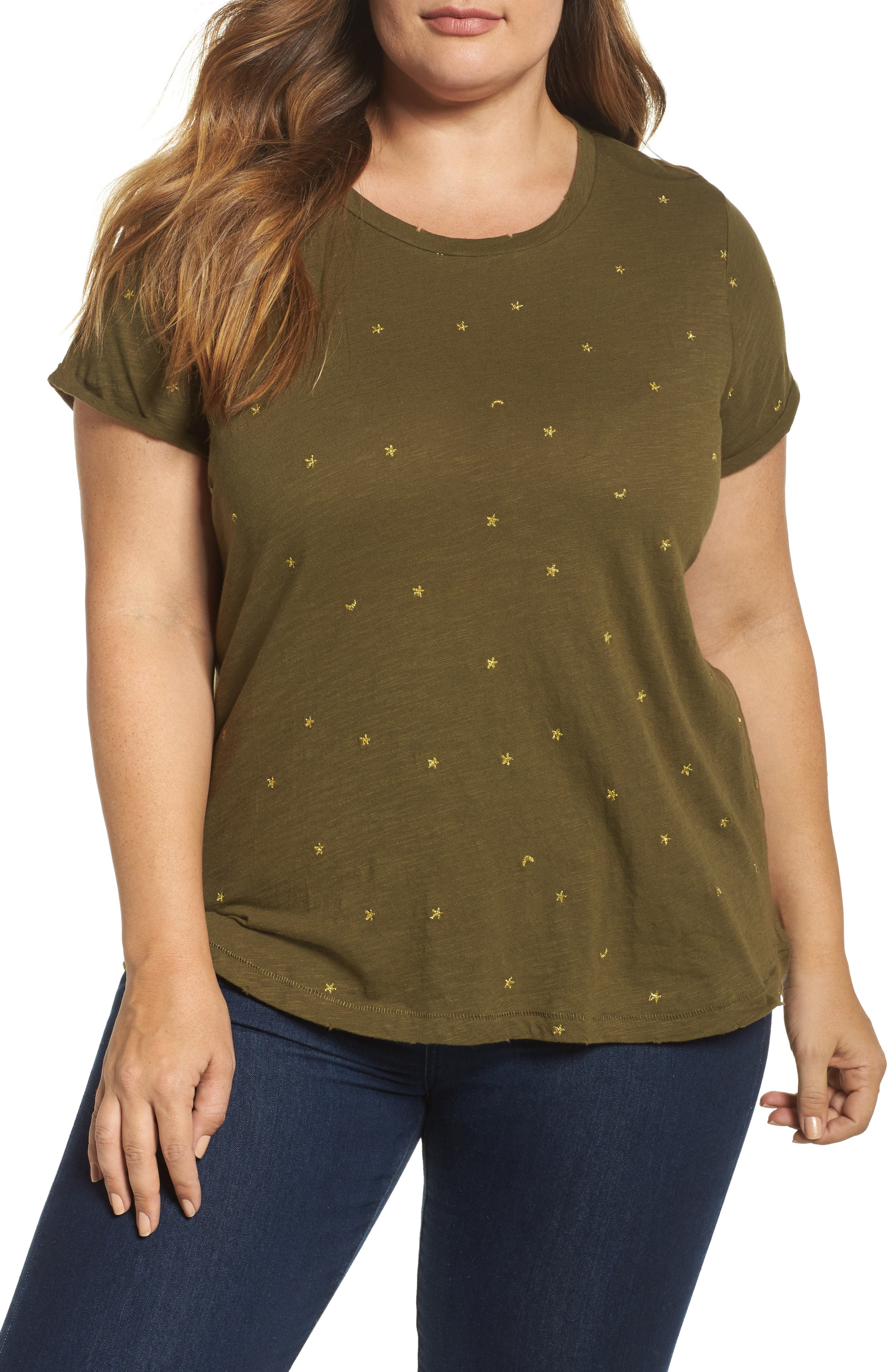 Alternate Image 1 Selected - Lucky Brand Embroidered Tee (Plus Size)