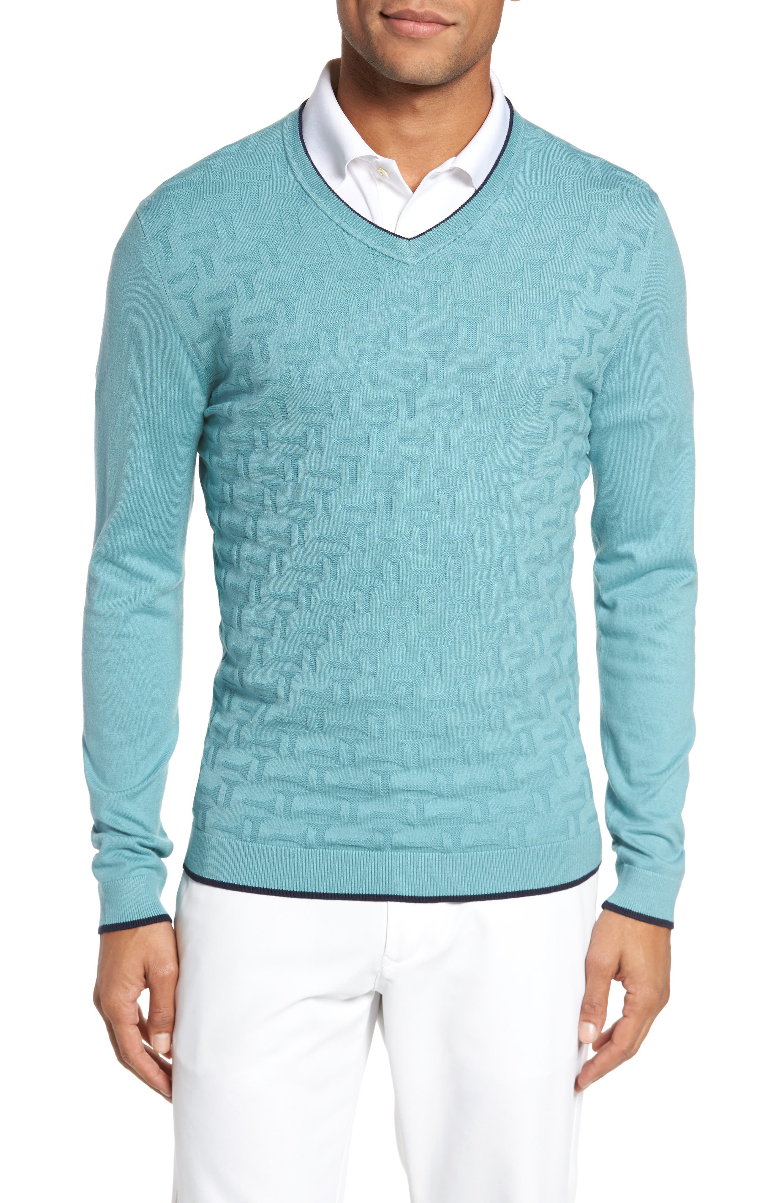 Alternate Image 1 Selected - Ted Baker London Armstro Tipped Golf Tee Sweater