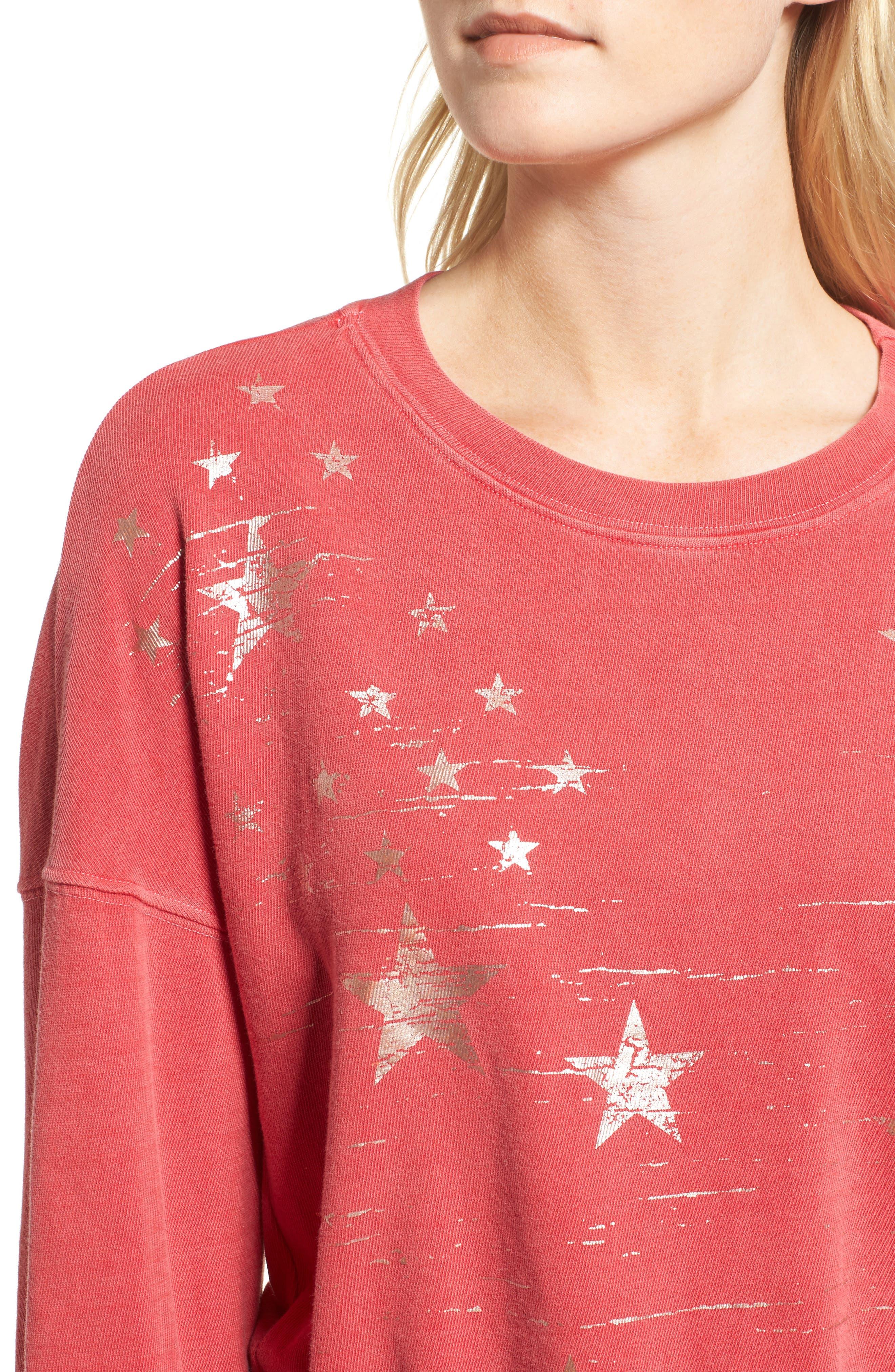 Foil Star Sweatshirt,                             Alternate thumbnail 5, color,                             Scarlet