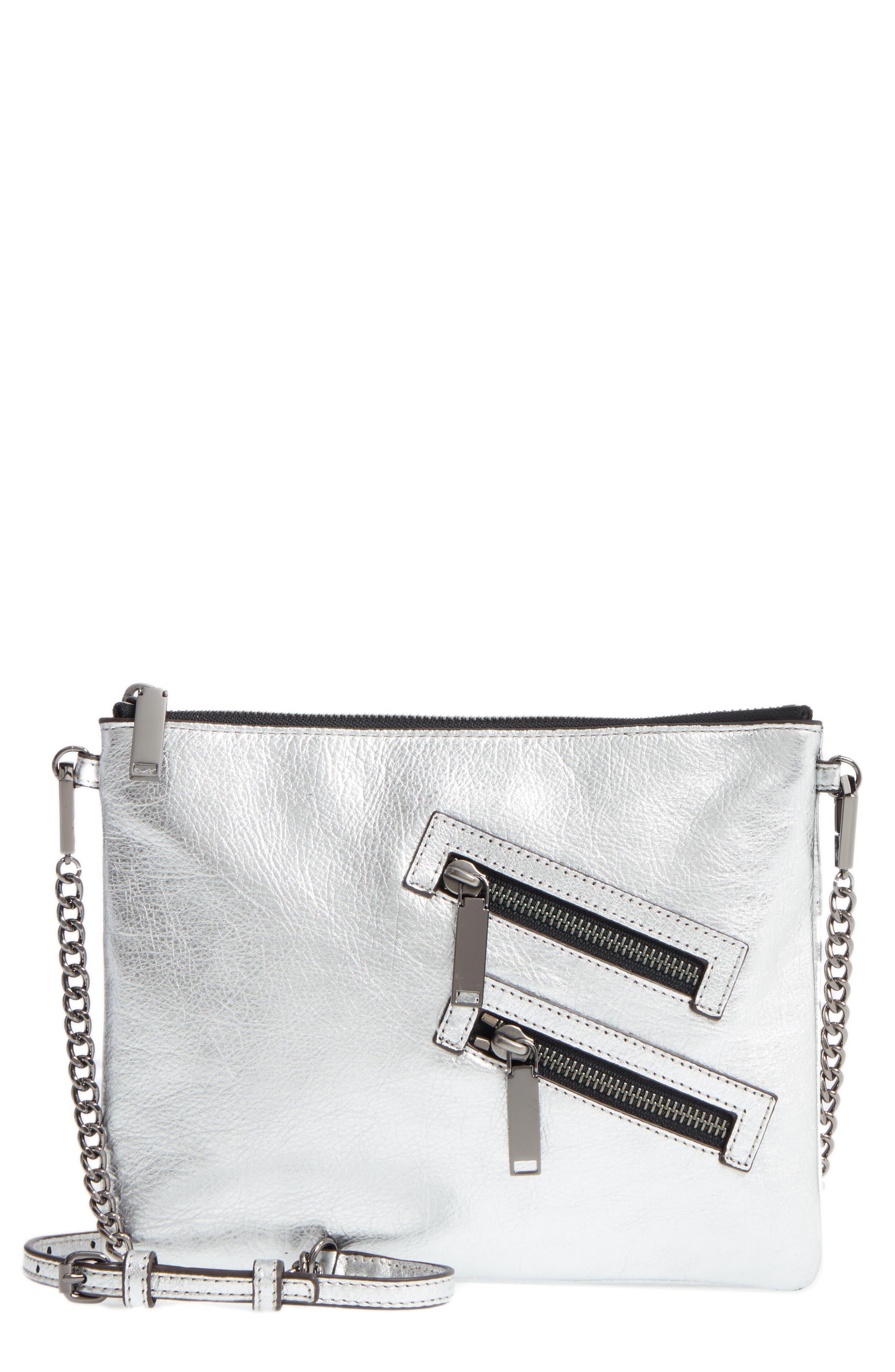 Jon Leather Crossbody Bag,                         Main,                         color, Silver