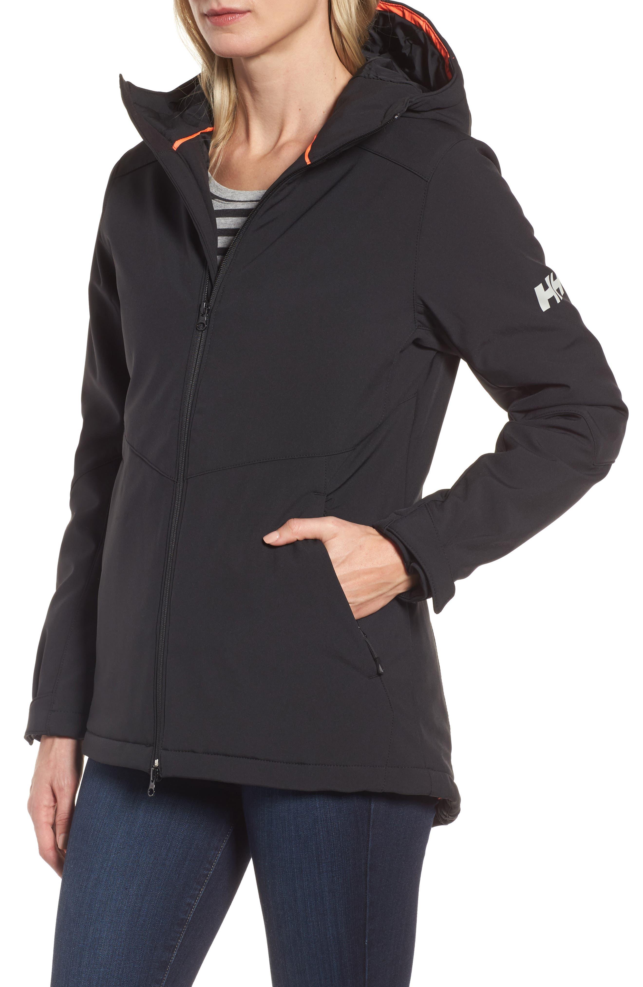 Lofn Hooded Insulated Soft Shell Jacket,                             Alternate thumbnail 4, color,                             Black
