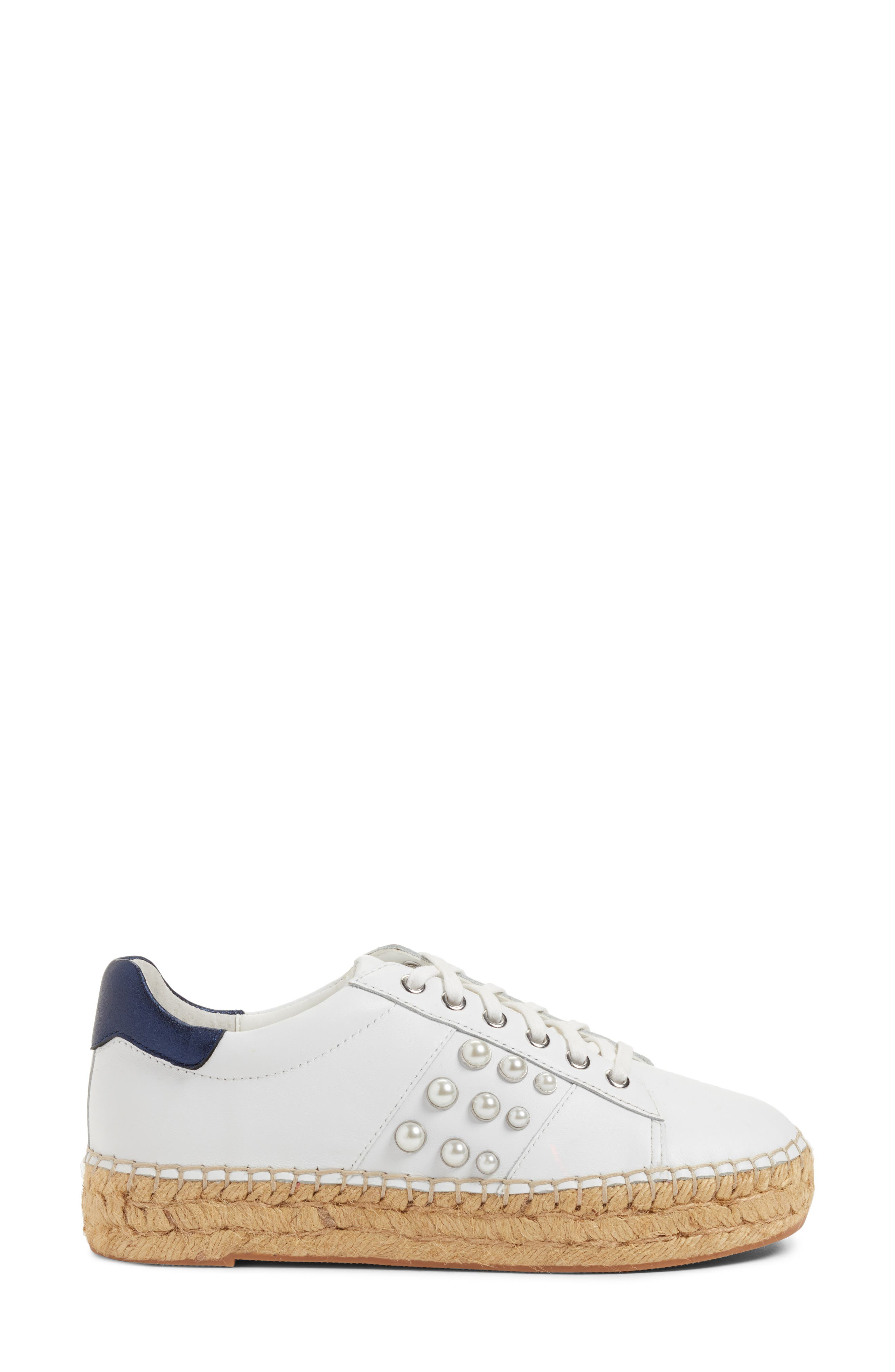 Marge Espadrille Platform Sneaker,                             Alternate thumbnail 3, color,                             White/ Navy Leather
