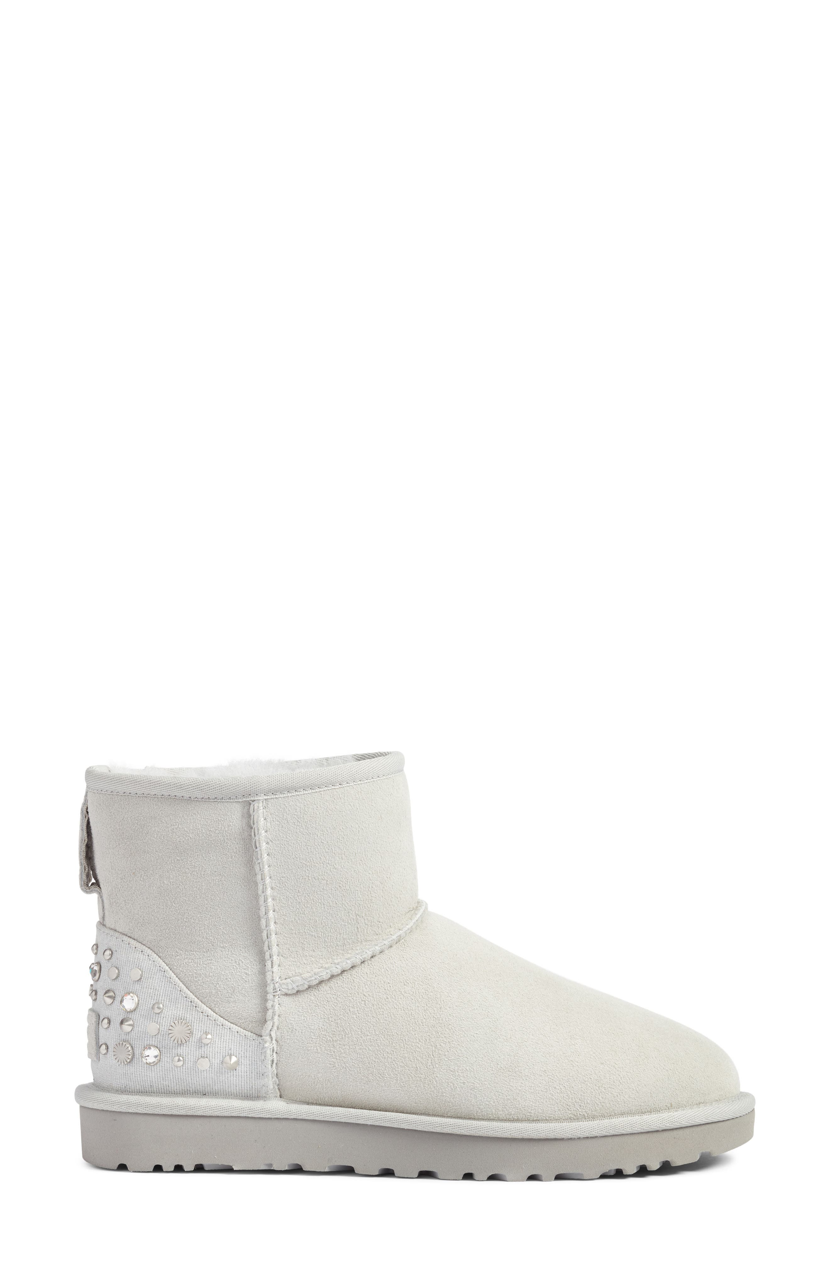 Studded Mini Genuine Shearling Lined Boot,                             Alternate thumbnail 4, color,                             Grey Violet