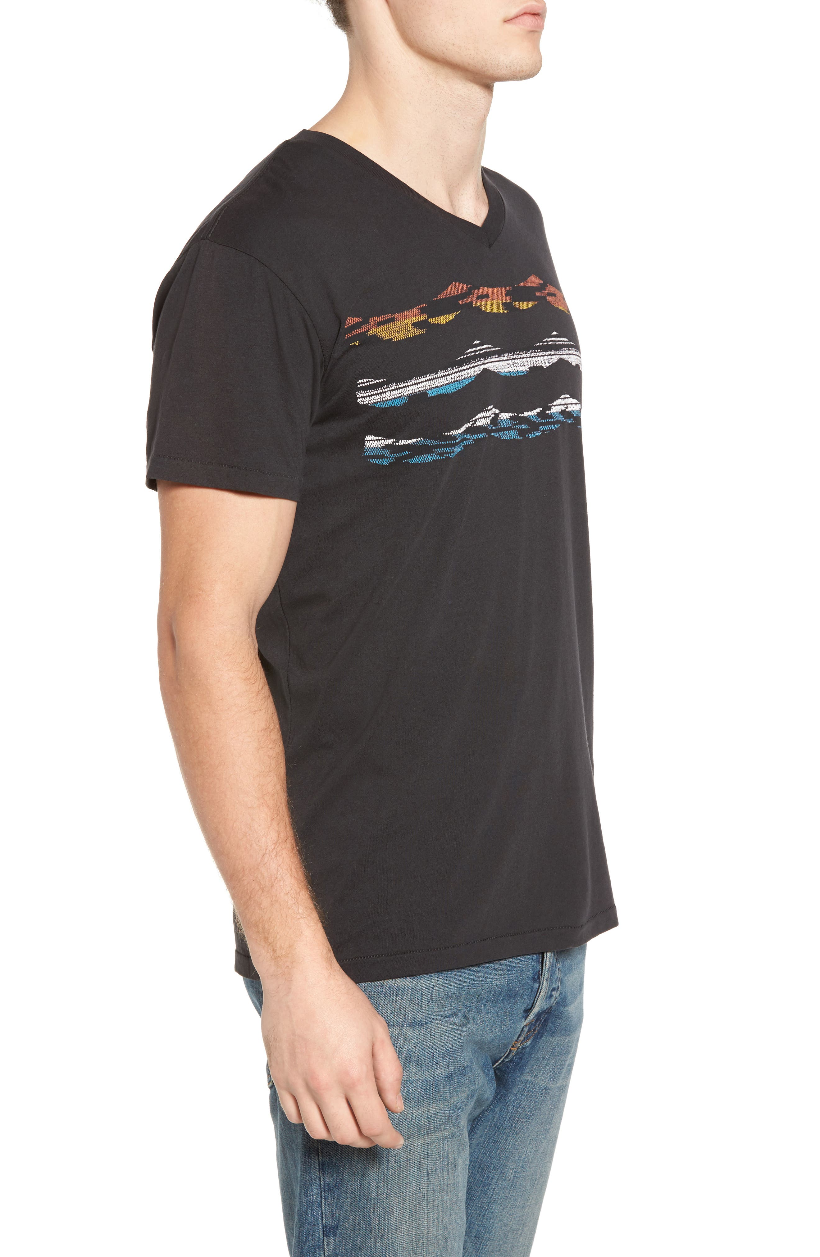 Madrugada Waves T-Shirt,                             Alternate thumbnail 3, color,                             V Black