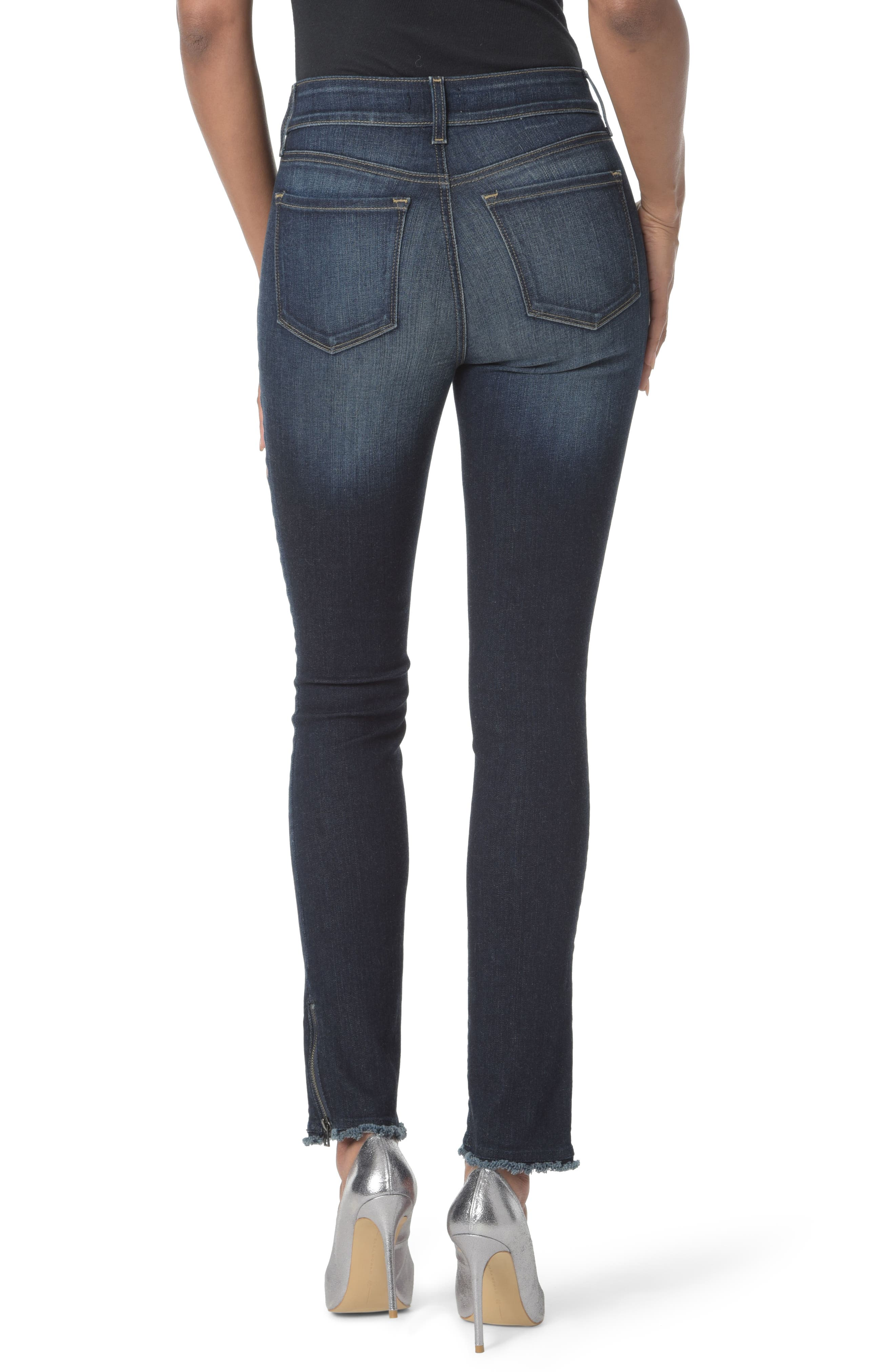 Alternate Image 2  - NYDJ Zip Hem Stretch Skinny Ankle Jeans (Bezel)