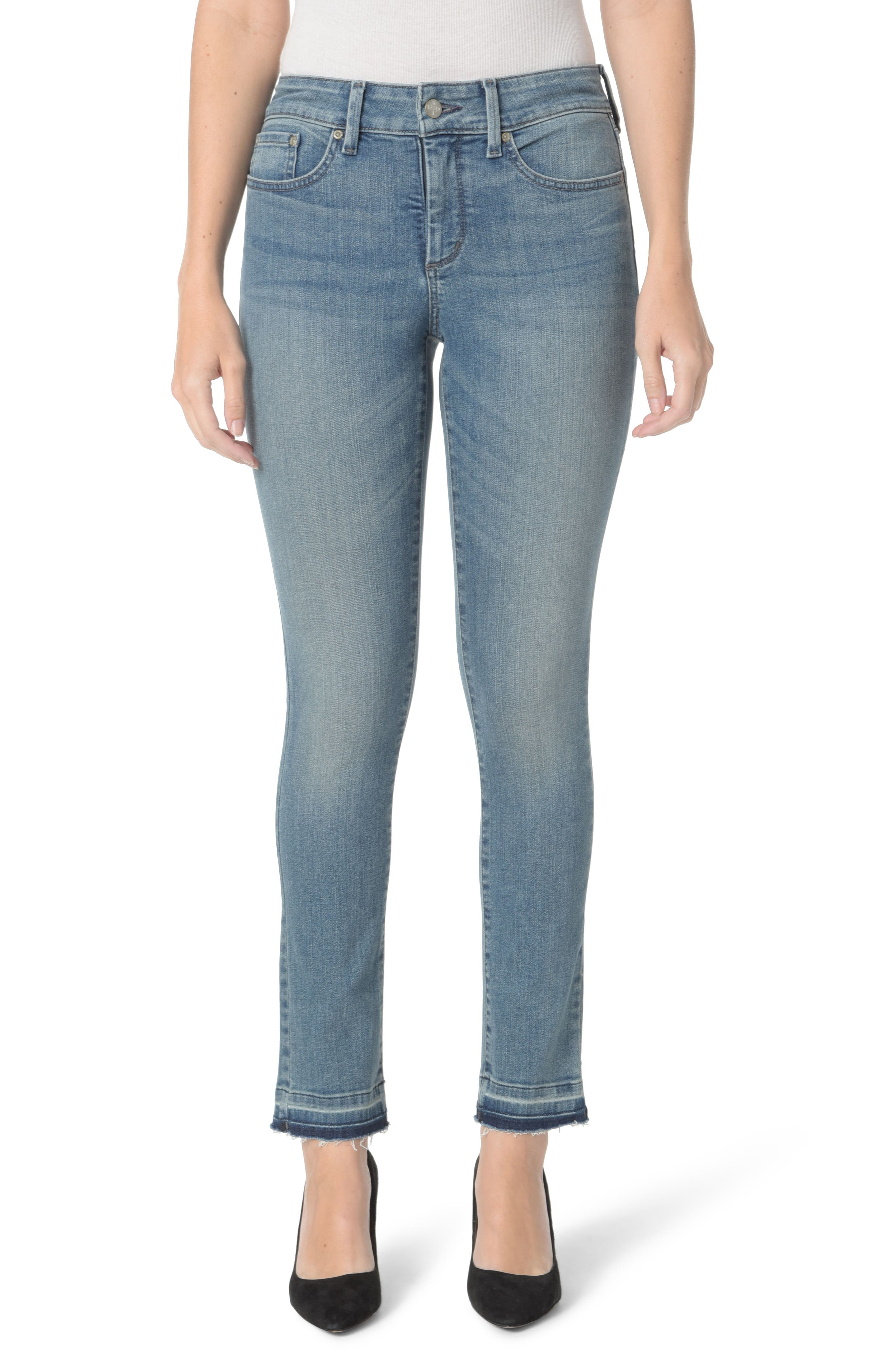 Sheri Release Hem Skinny Ankle Jeans,                             Main thumbnail 1, color,                             Pacific
