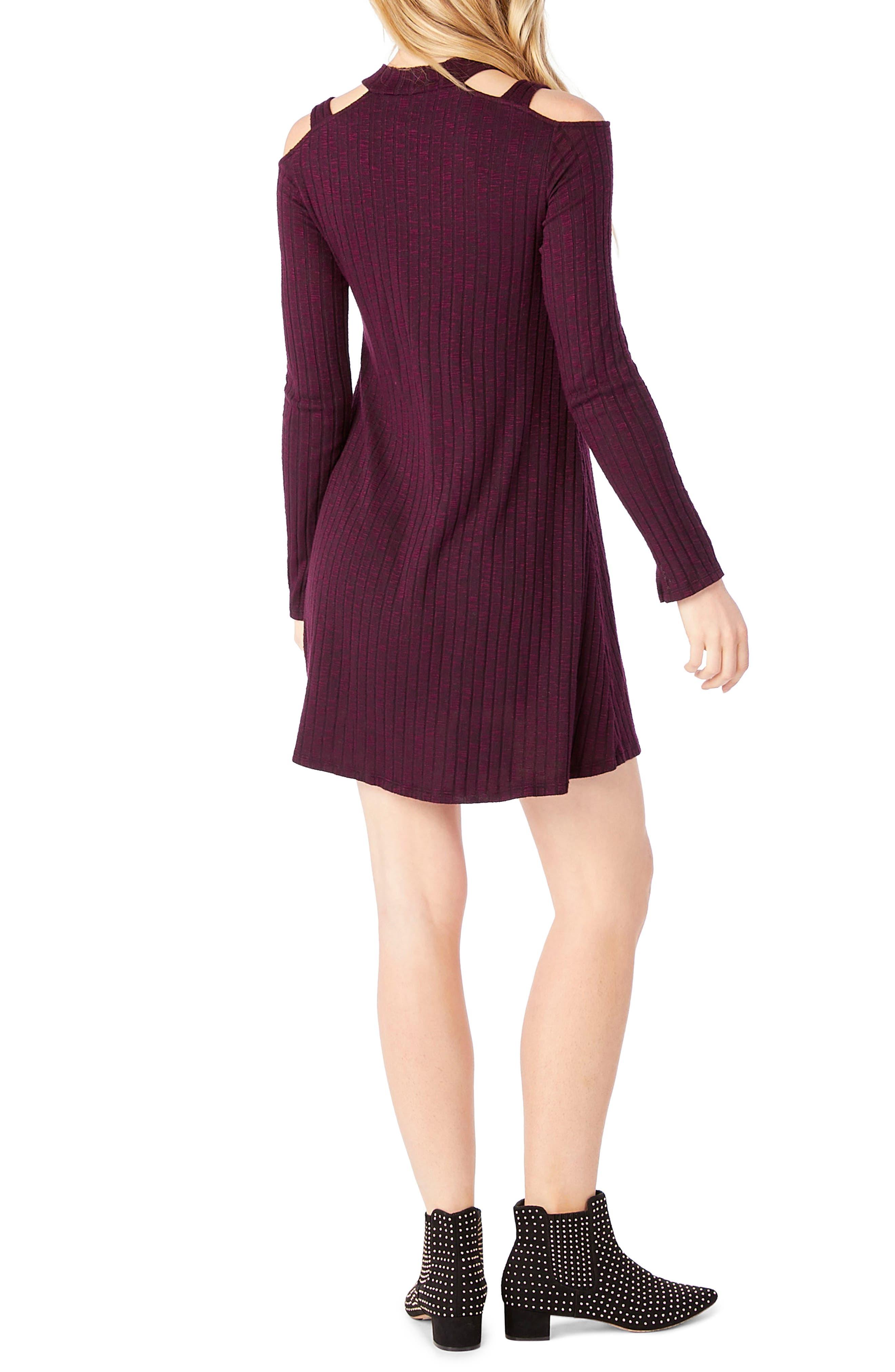 Cold Shoulder Mock Neck Shift Dress,                             Alternate thumbnail 2, color,                             Rumba