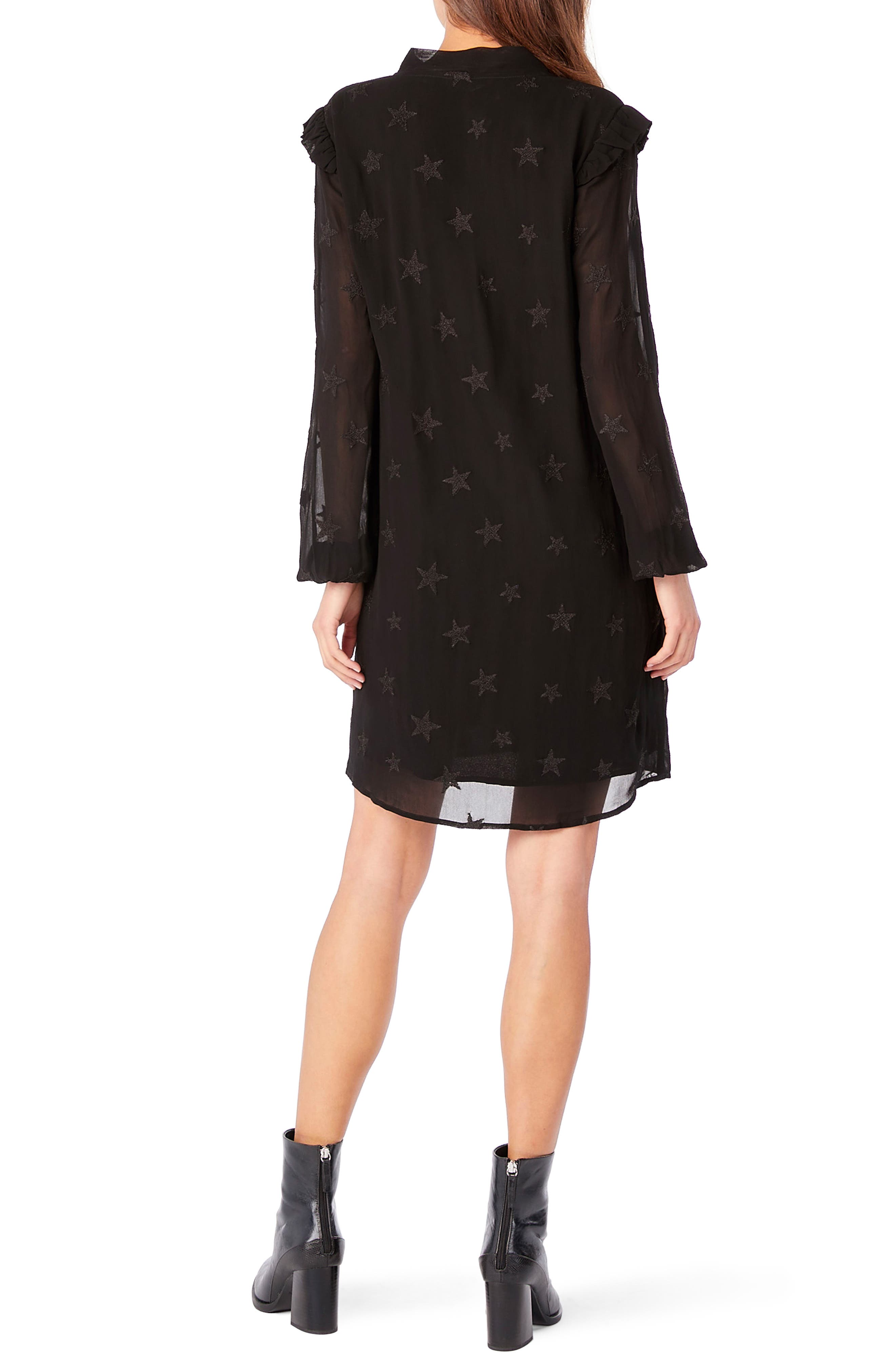 Embroidered Star Ruffle Shift Dress,                             Alternate thumbnail 2, color,                             Black