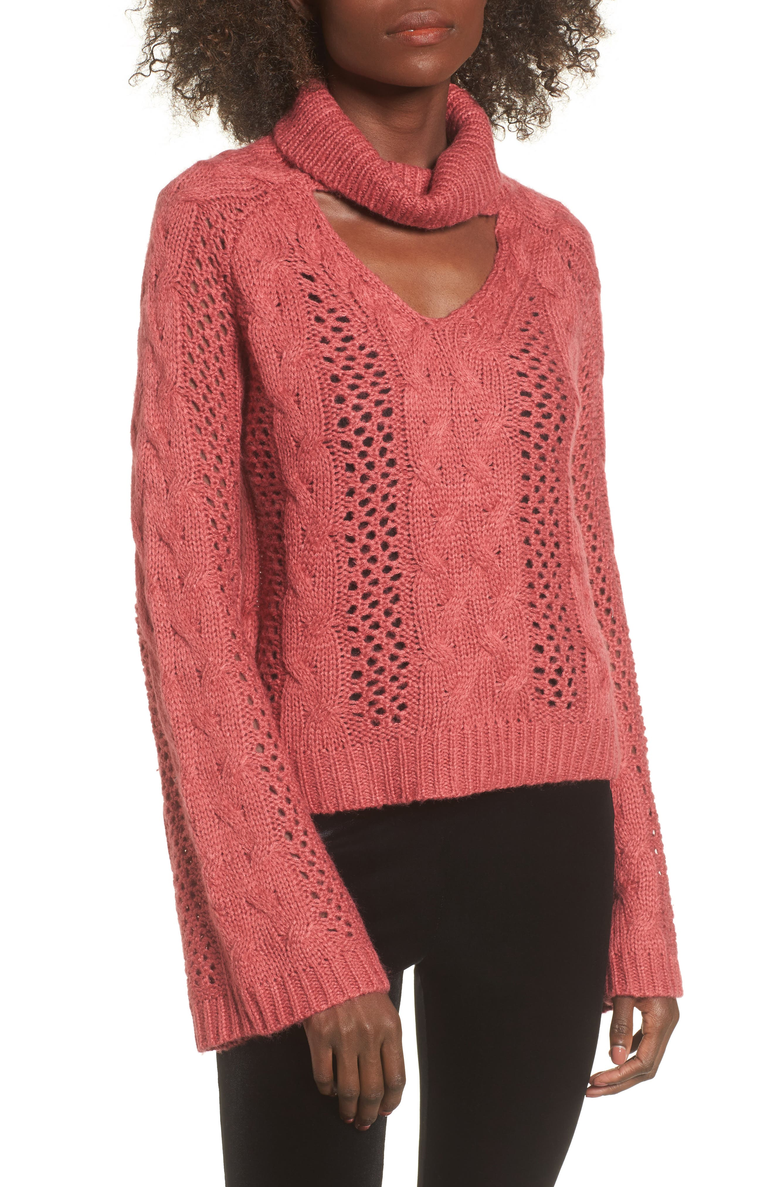 Choker Sweater,                         Main,                         color, Red Baroque