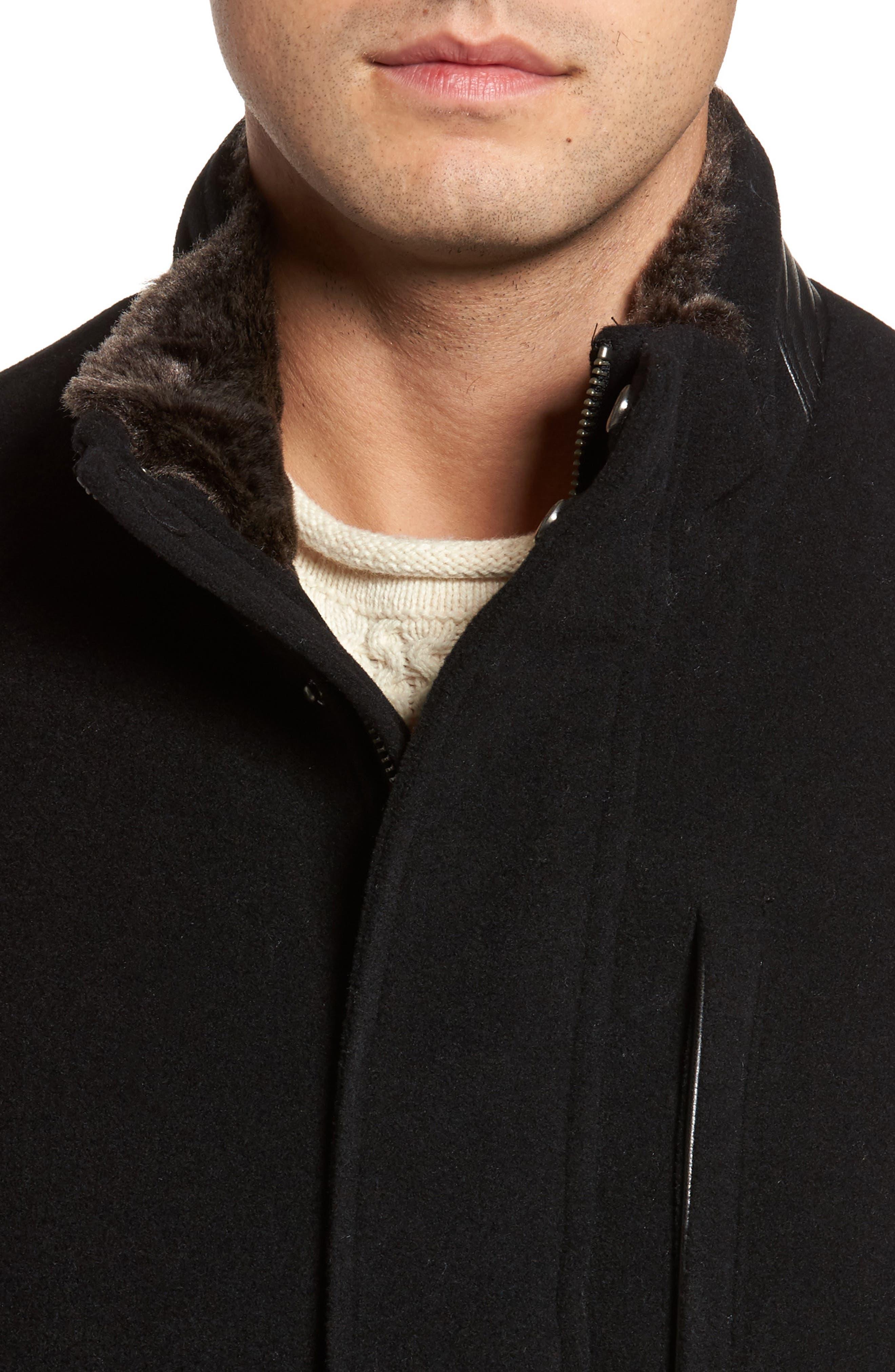 Faux Fur Collar Wool Blend Parka,                             Alternate thumbnail 4, color,                             Black