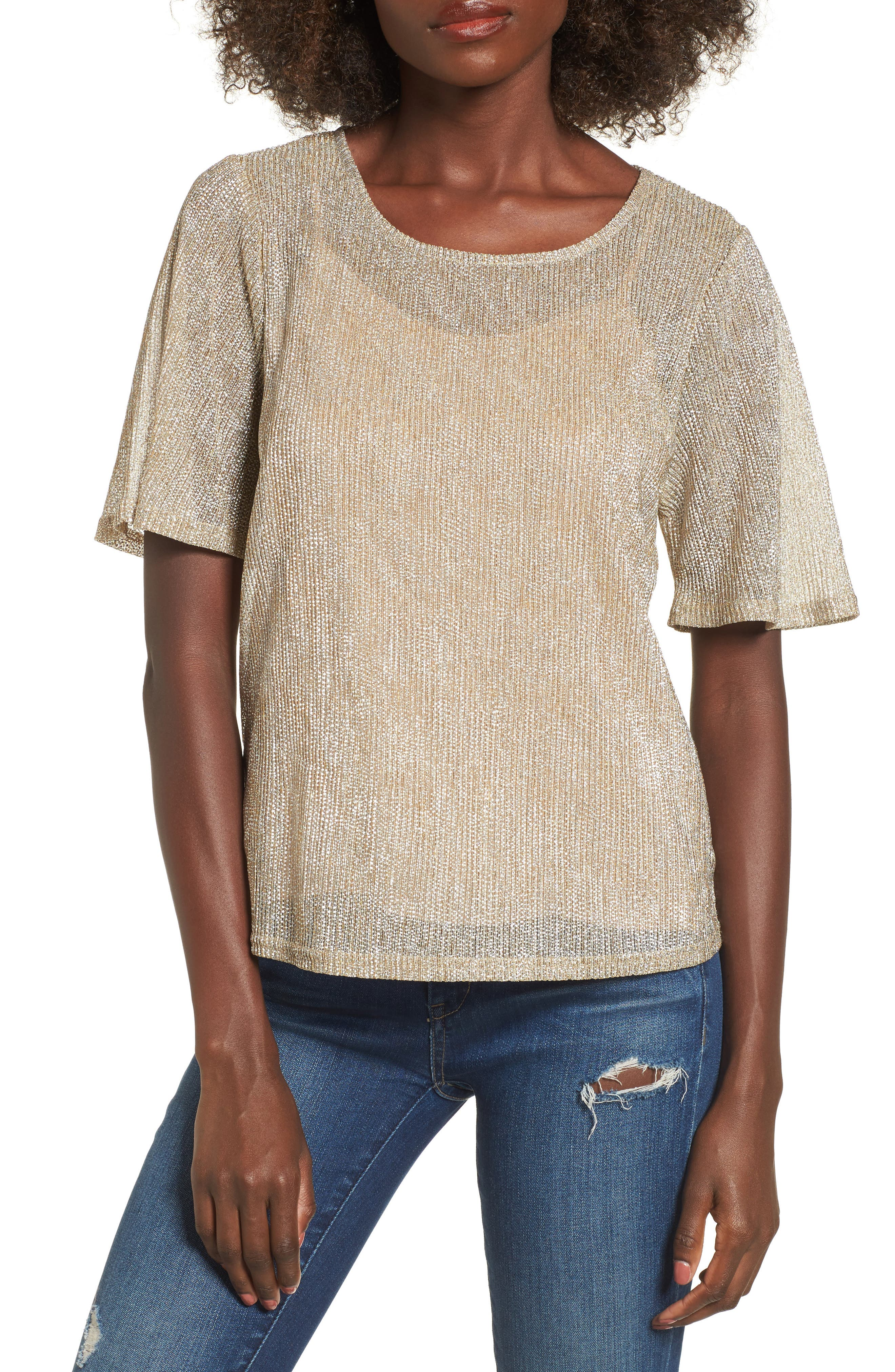 Metallic Knit Tee,                         Main,                         color, Champagne