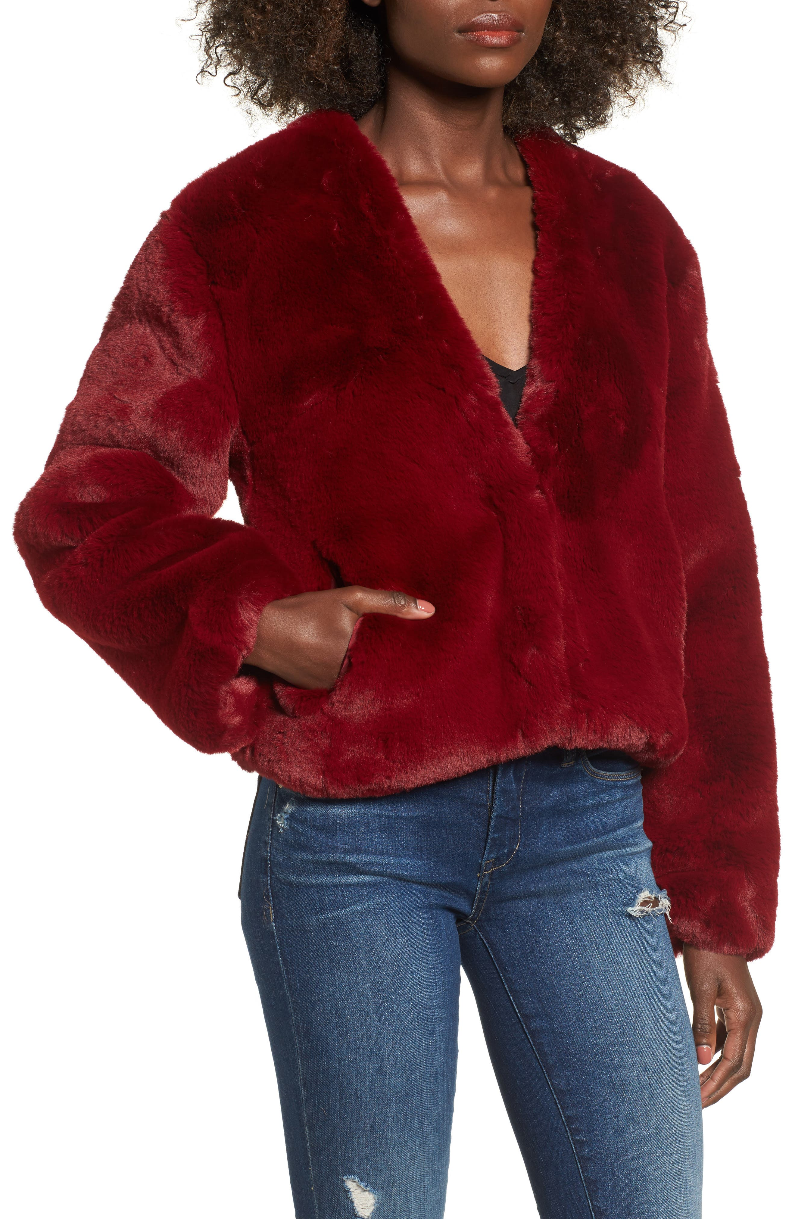 Lonely Hearts Faux Fur Jacket,                             Alternate thumbnail 4, color,                             Ruby