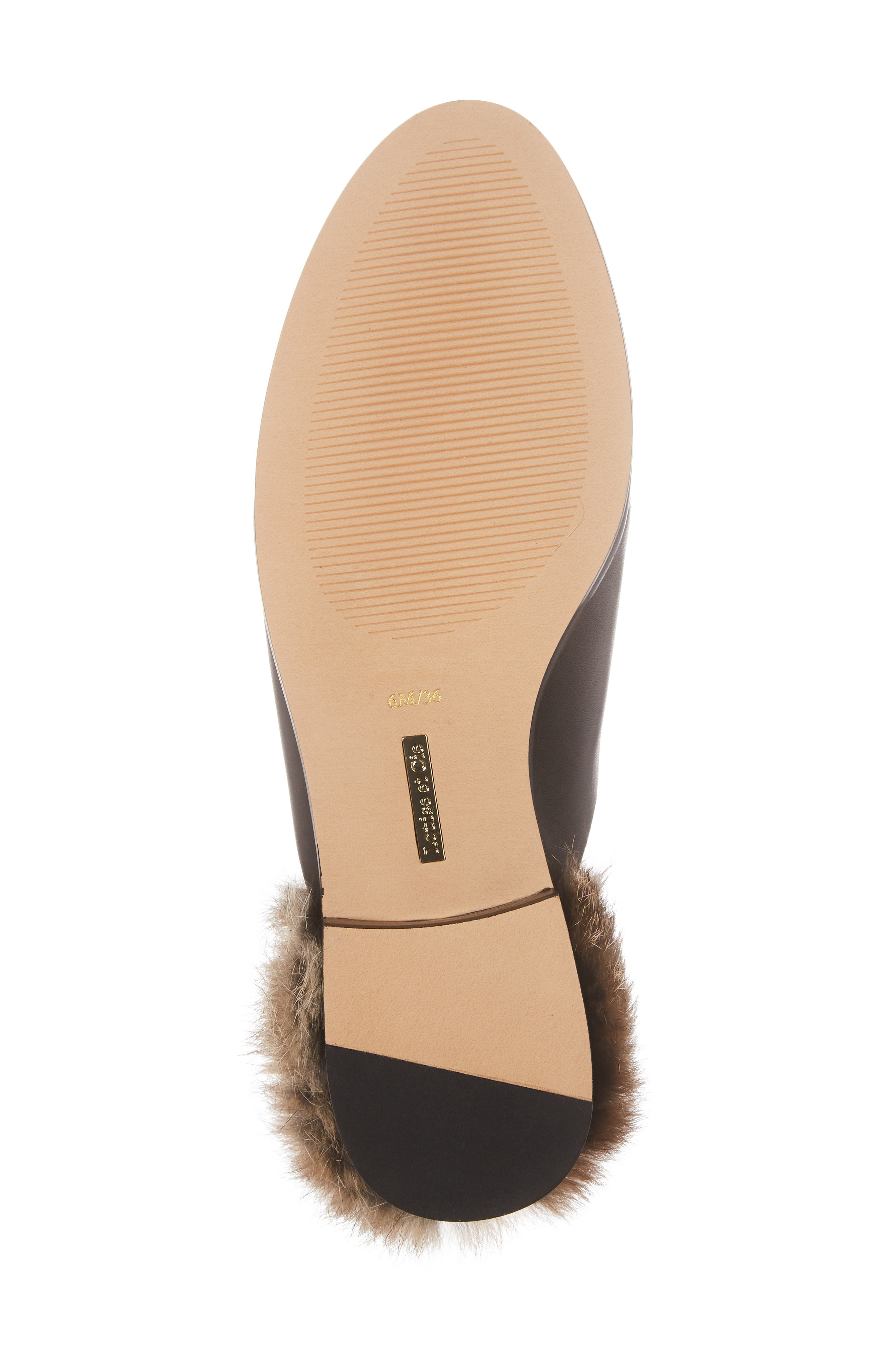 Dugan II Genuine Rabbit Fur Mule,                             Alternate thumbnail 6, color,                             Black Leather