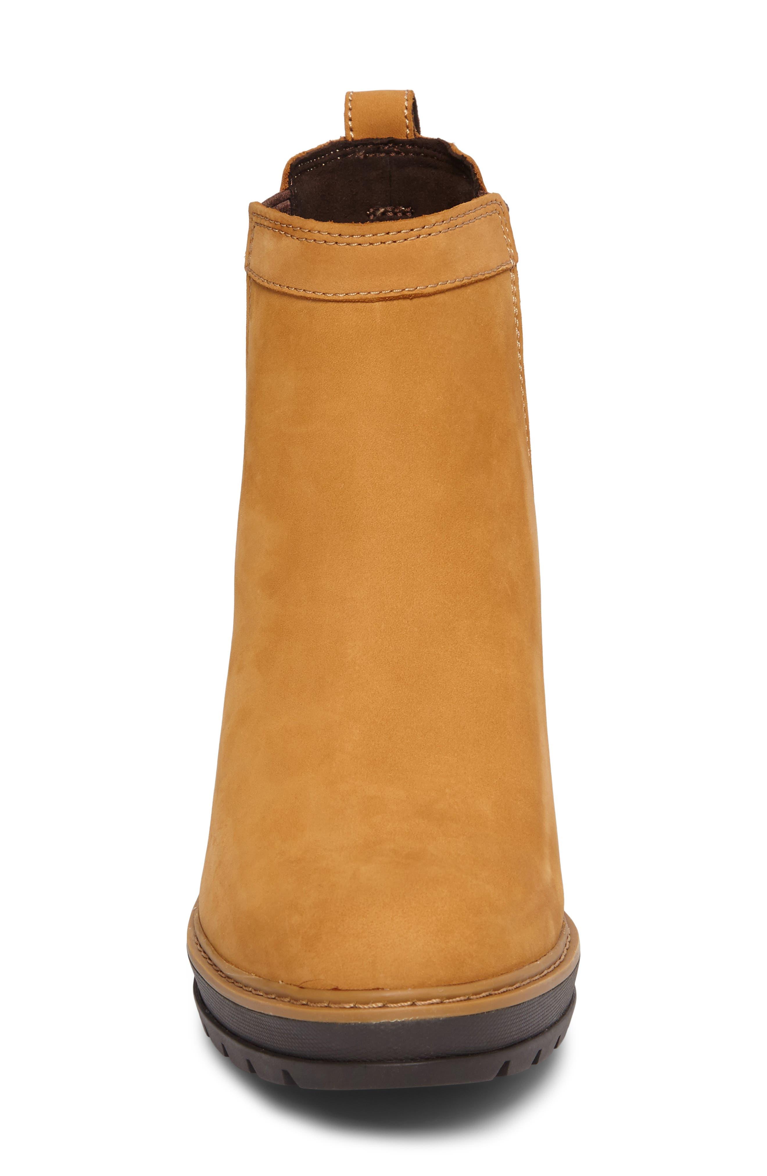 Kellis Water Resistant Chelsea Wedge Boot,                             Alternate thumbnail 4, color,                             Wheat Nubuck
