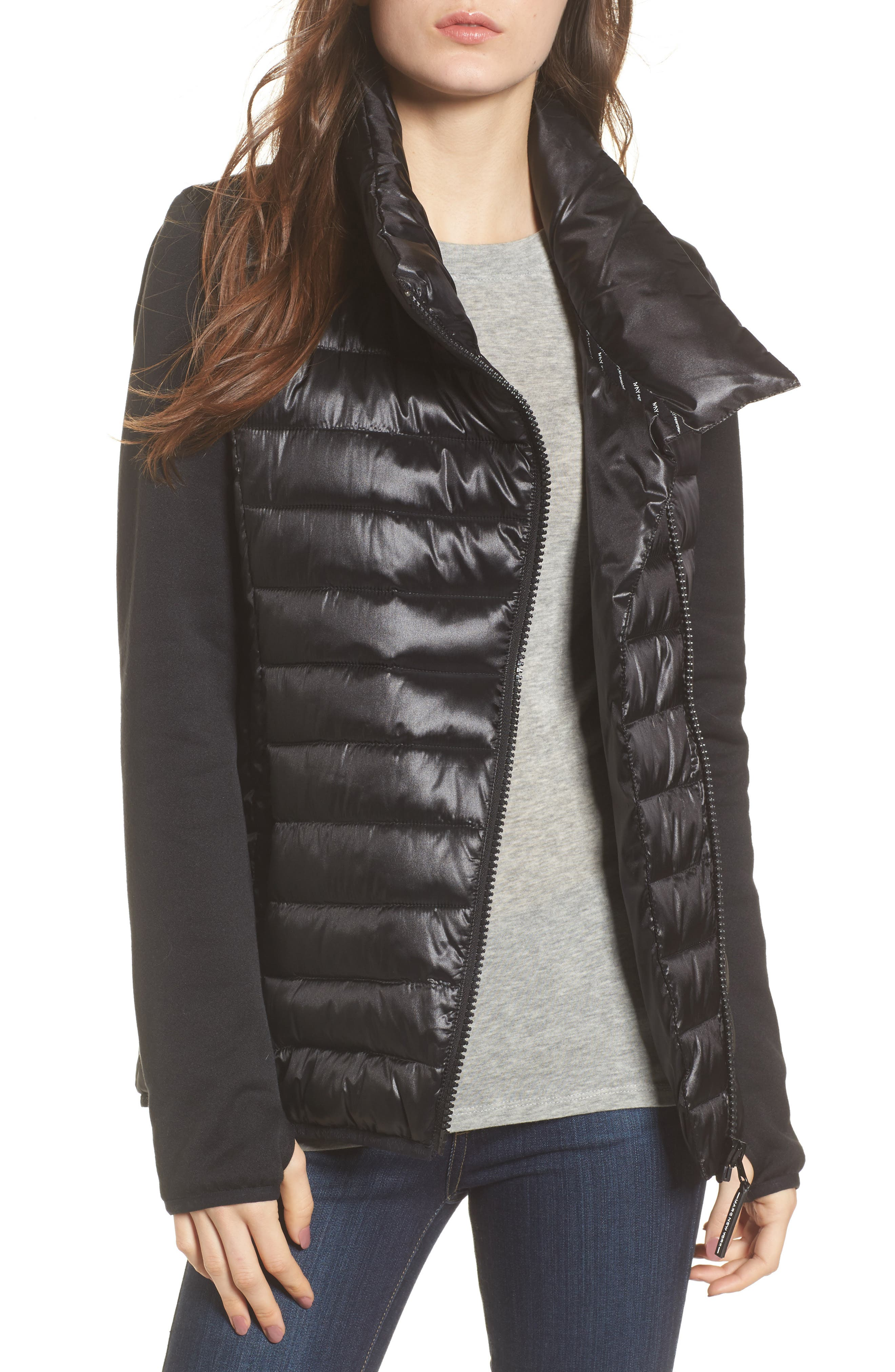Knit Sleeve Packable Puffer Jacket,                             Main thumbnail 1, color,                             Black