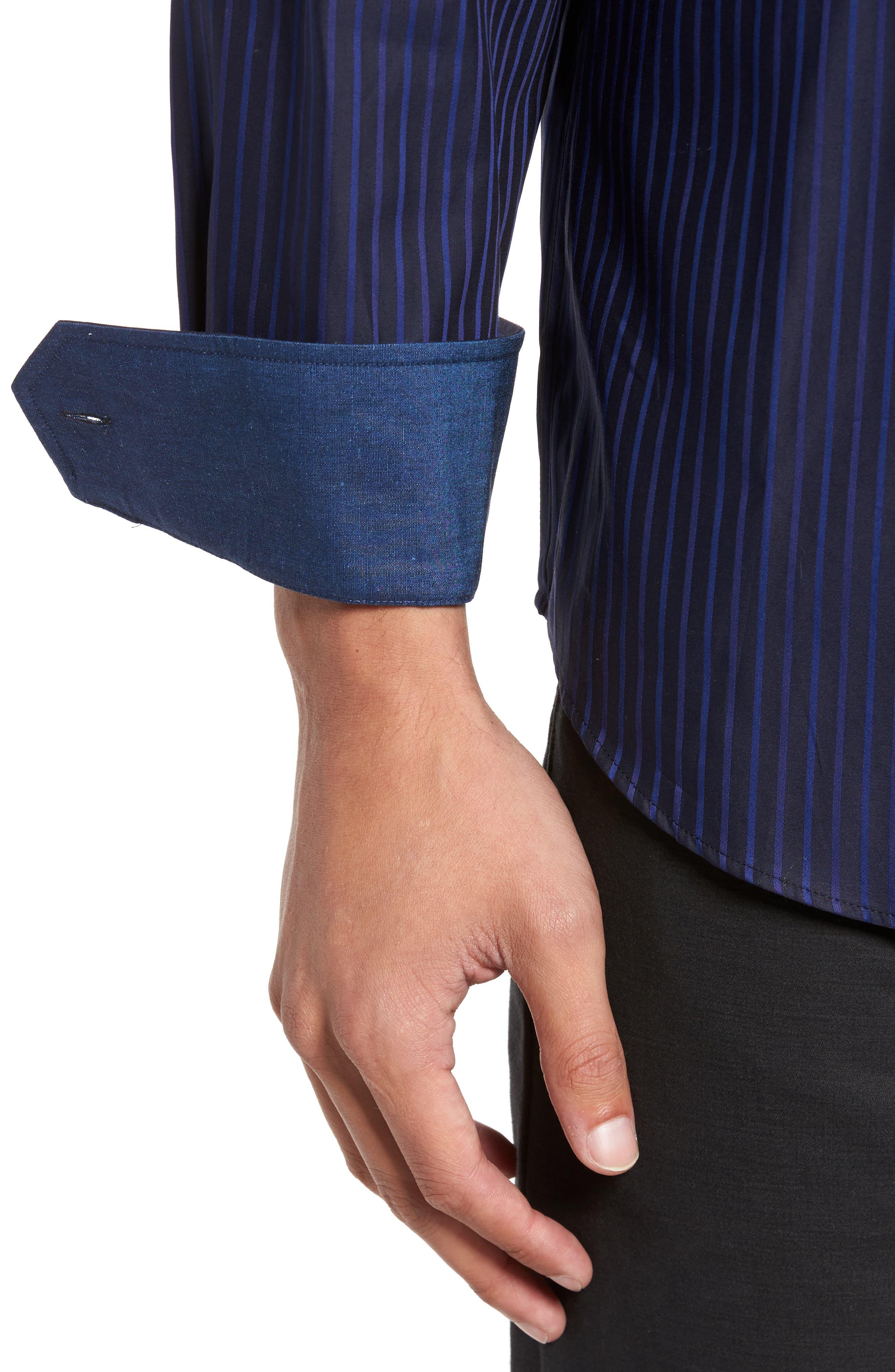 Classic Fit Stripe Sport Shirt,                             Alternate thumbnail 4, color,                             Night Blue