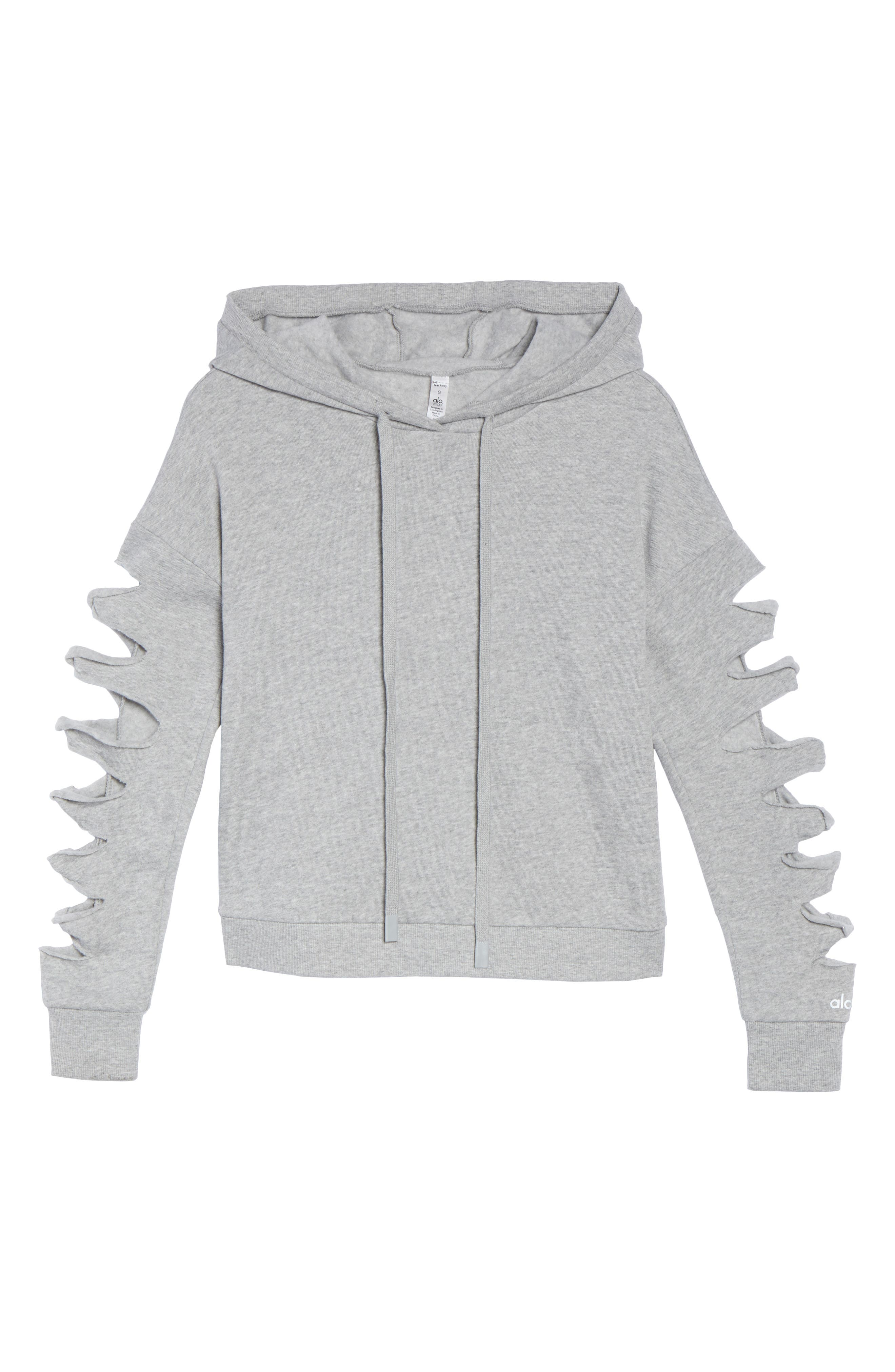 Slay Slashed Long Sleeve Hoodie,                             Alternate thumbnail 7, color,                             Dove Grey Heather